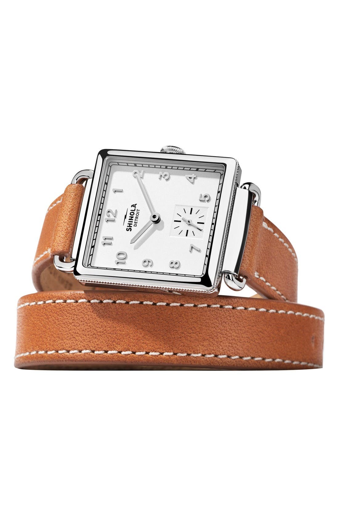 Cass Leather Strap Watch, 28mm,                             Alternate thumbnail 6, color,                             Brown/ Silver
