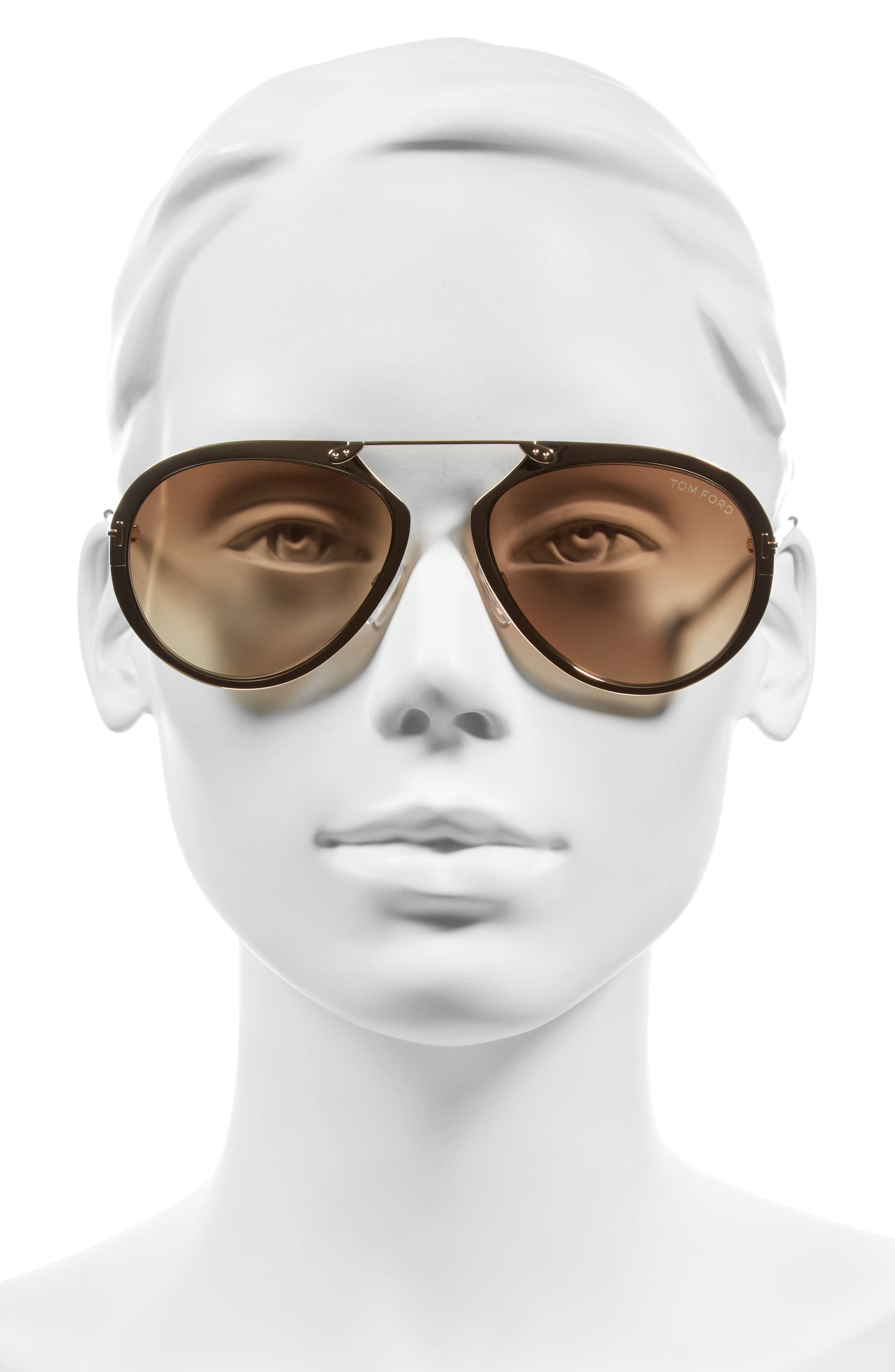 Dashel 55mm Sunglasses,                             Alternate thumbnail 2, color,                             Rose Gold/ Yellow/ Brown