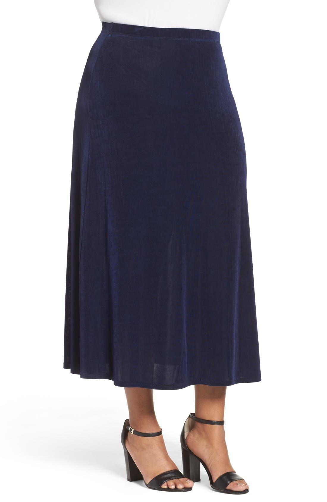 Long A-Line Skirt,                             Alternate thumbnail 3, color,                             Navy