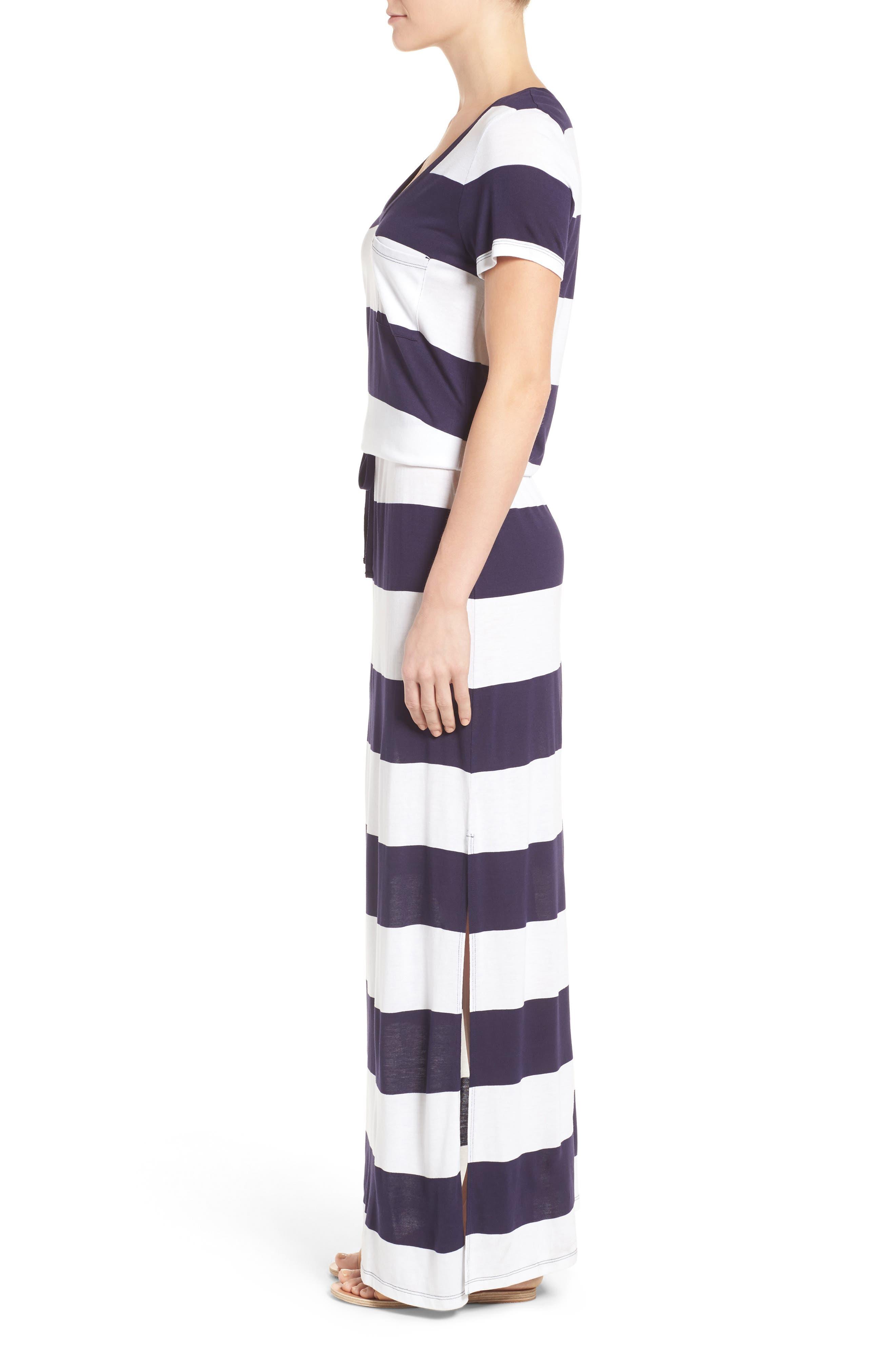 Alternate Image 3  - Caslon® Drawstring V-Neck Jersey Maxi Dress (Regular & Petite)