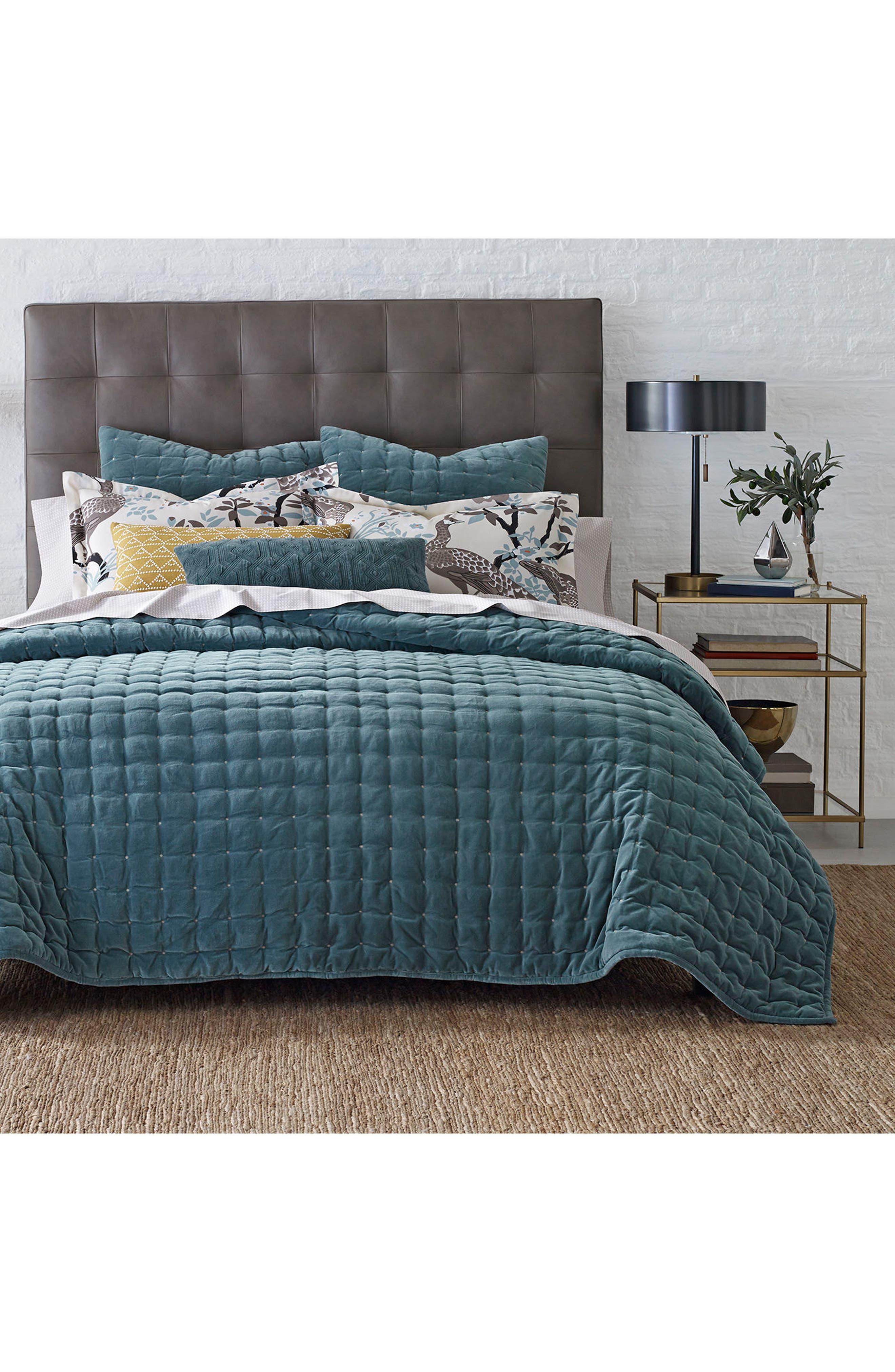 Mercer Velvet Quilt,                         Main,                         color, Green