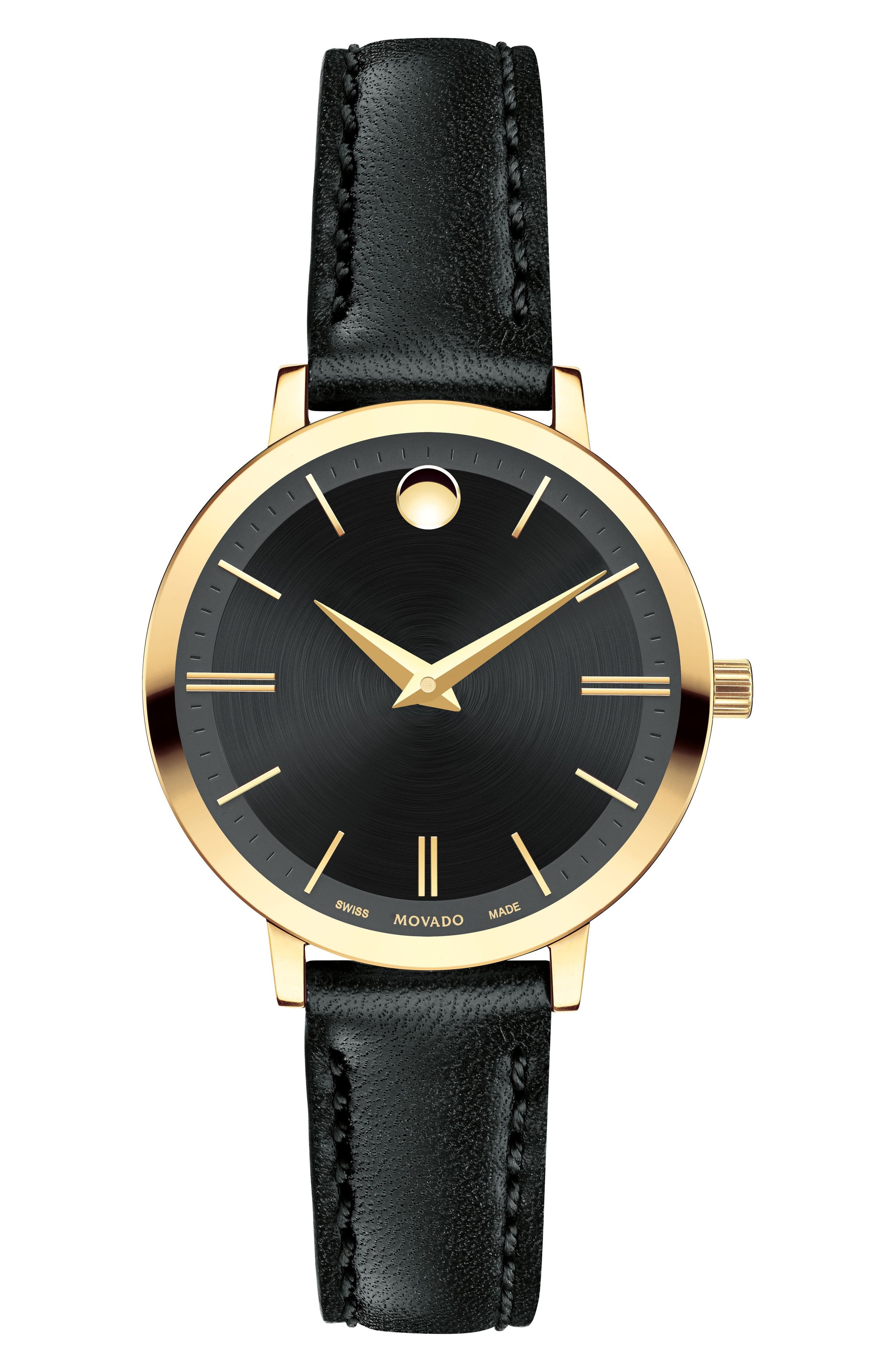 Ultra Slim Leather Strap Watch, 28mm,                         Main,                         color, Black/ Gold