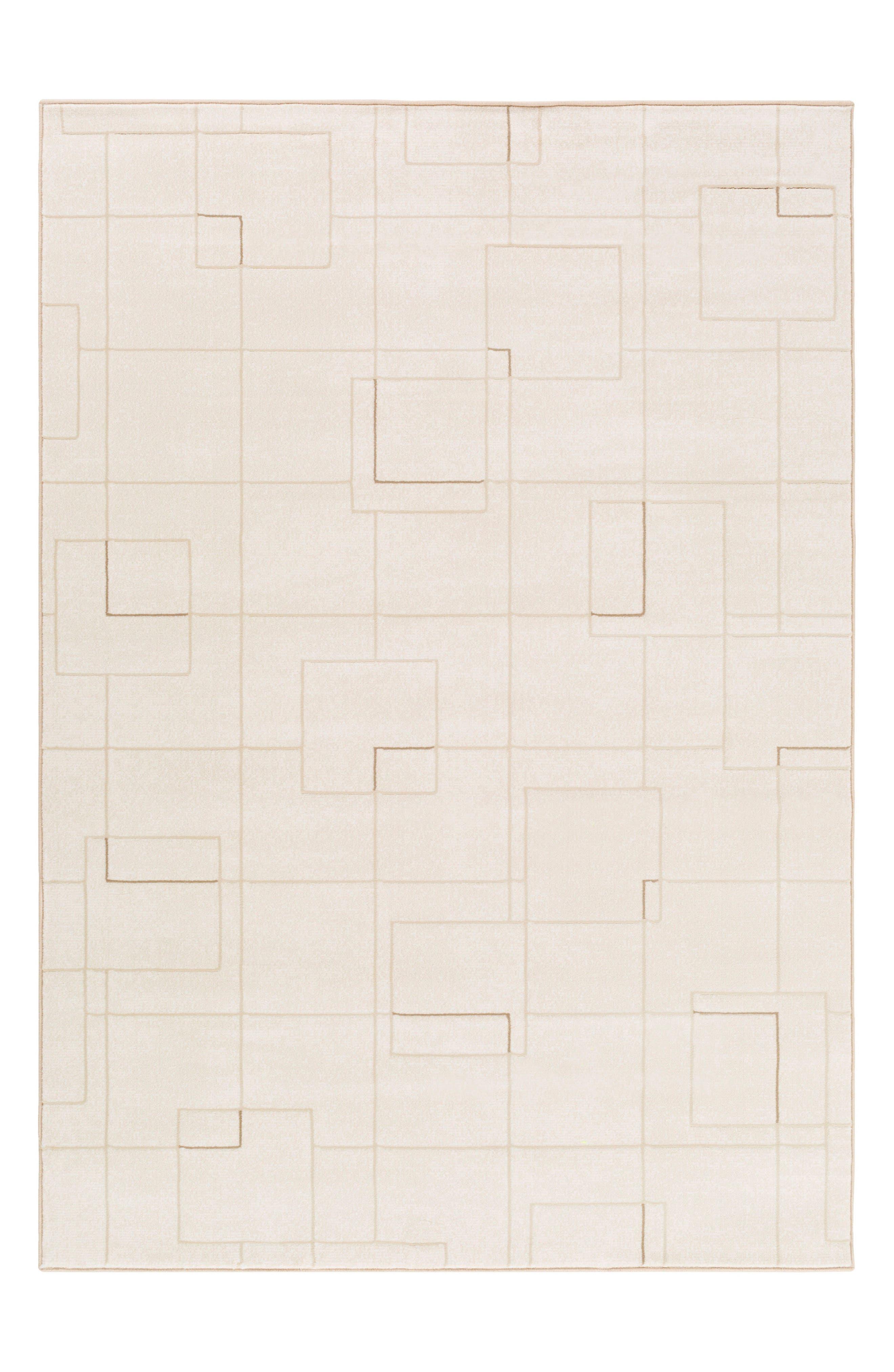 Modern Grid Rug,                         Main,                         color, Cream
