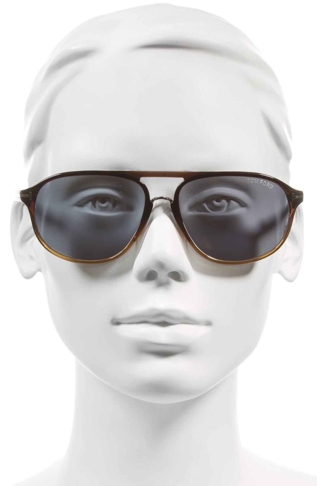 Jacob 60mm Retro Sunglasses,                             Alternate thumbnail 2, color,                             Black/ Other/ Smoke Mirror