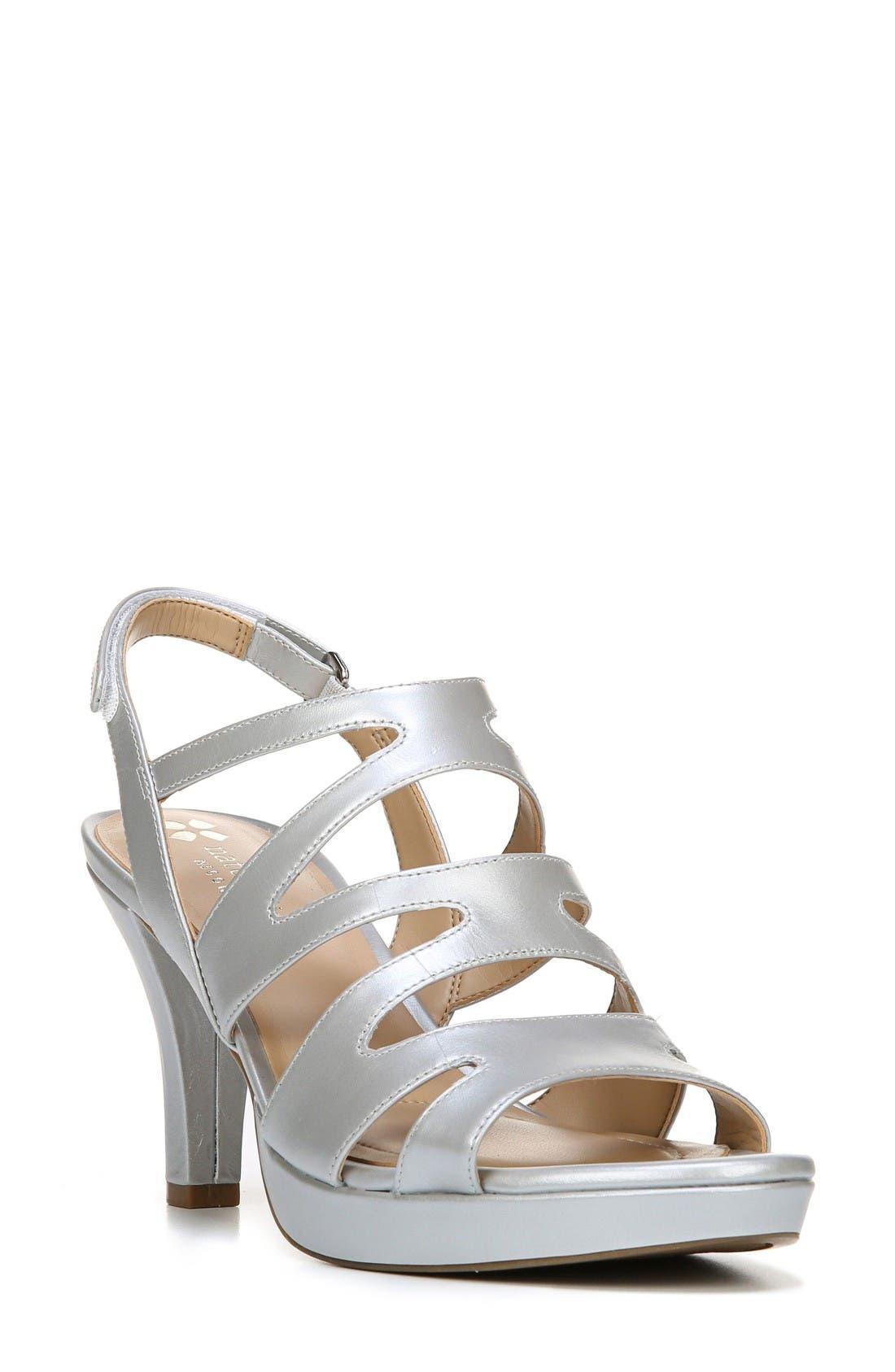 'Pressley' Slingback Platform Sandal,                             Main thumbnail 1, color,                             Silver Leather
