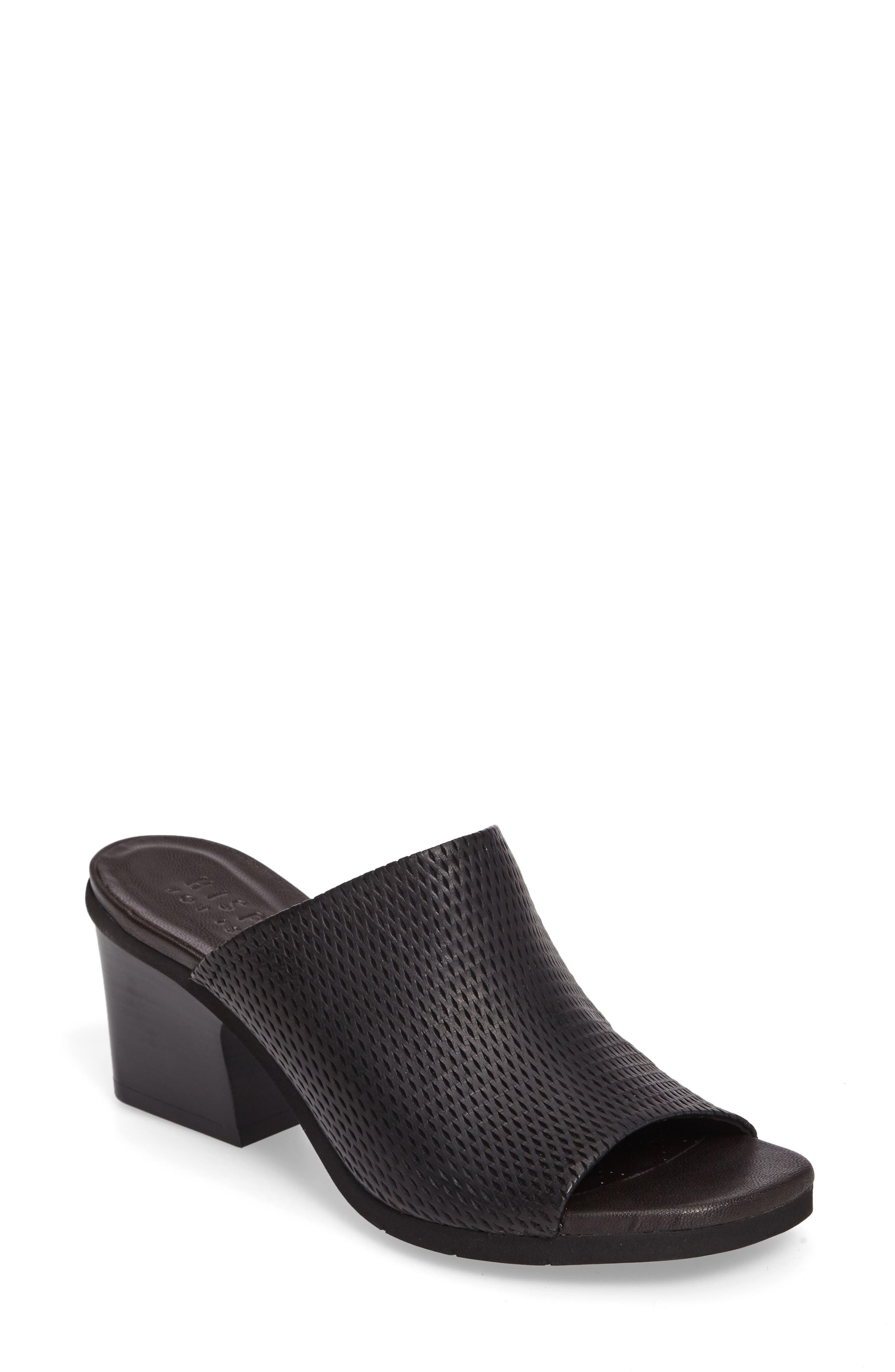 Udora Perforated Mule,                             Main thumbnail 1, color,                             Keops Black Leather