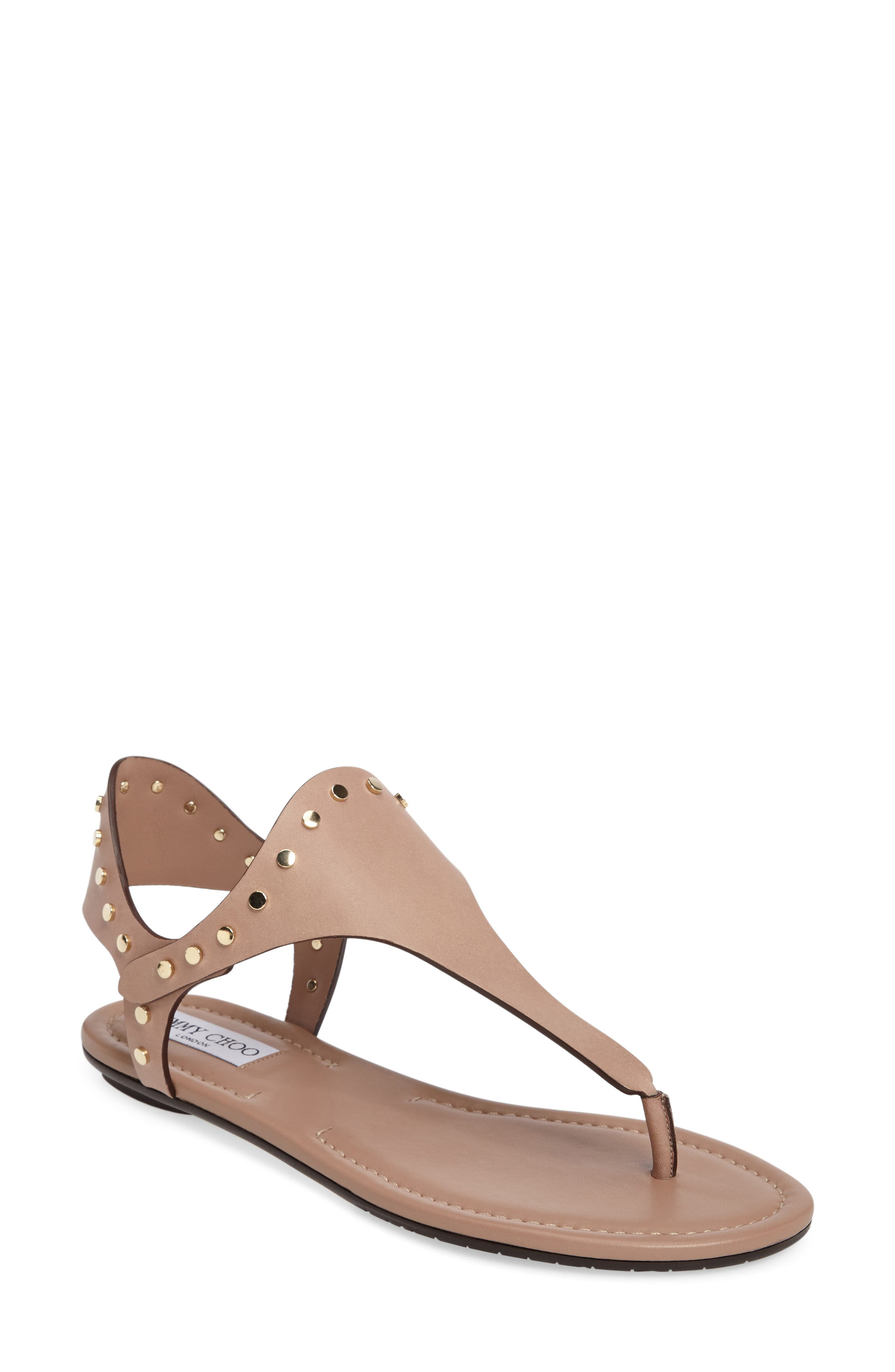 JIMMY CHOO Dara Studded T-Strap Sandal