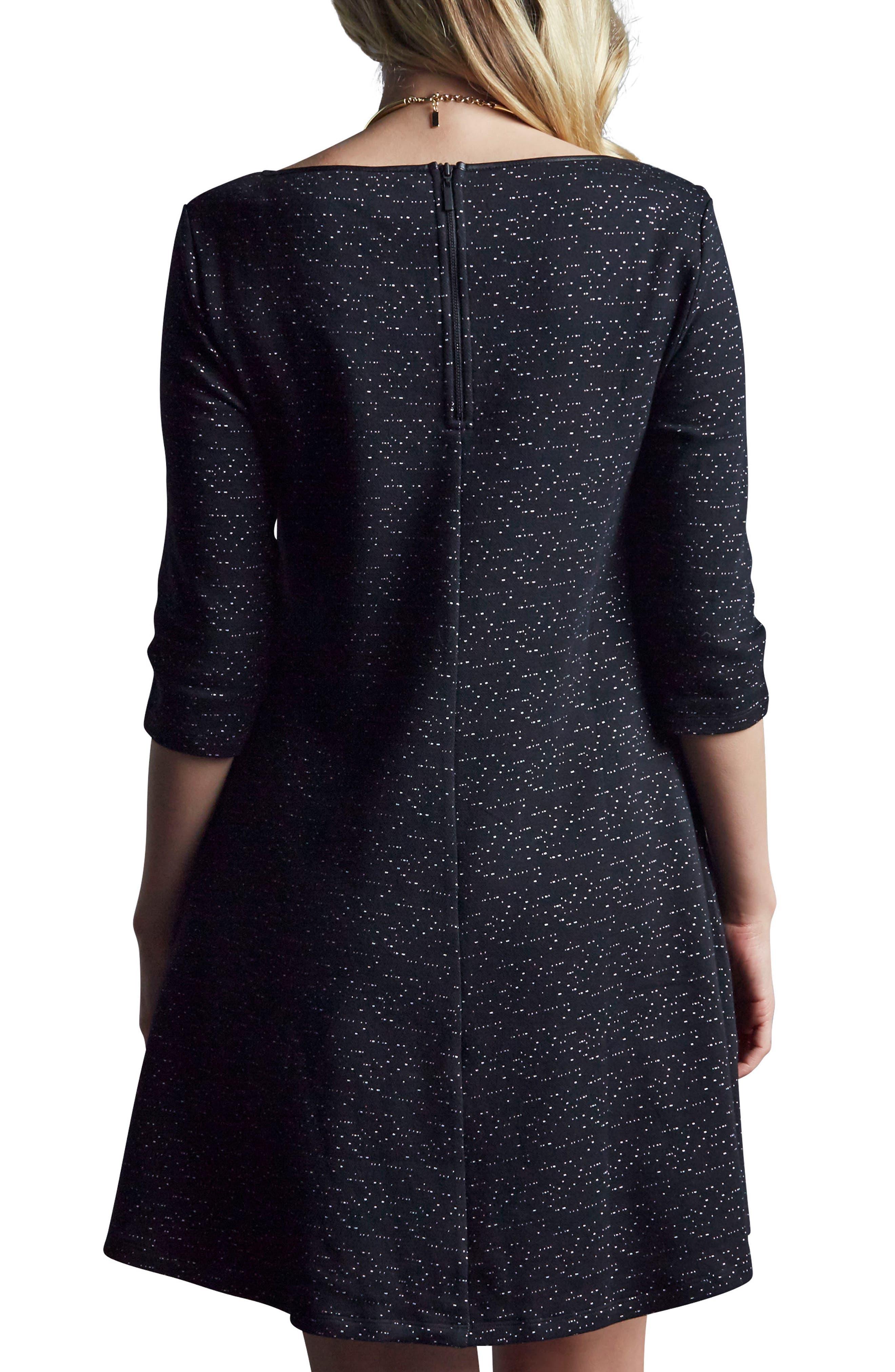 Kate Maternity Dress,                             Alternate thumbnail 2, color,                             Black Space Dye Speckle