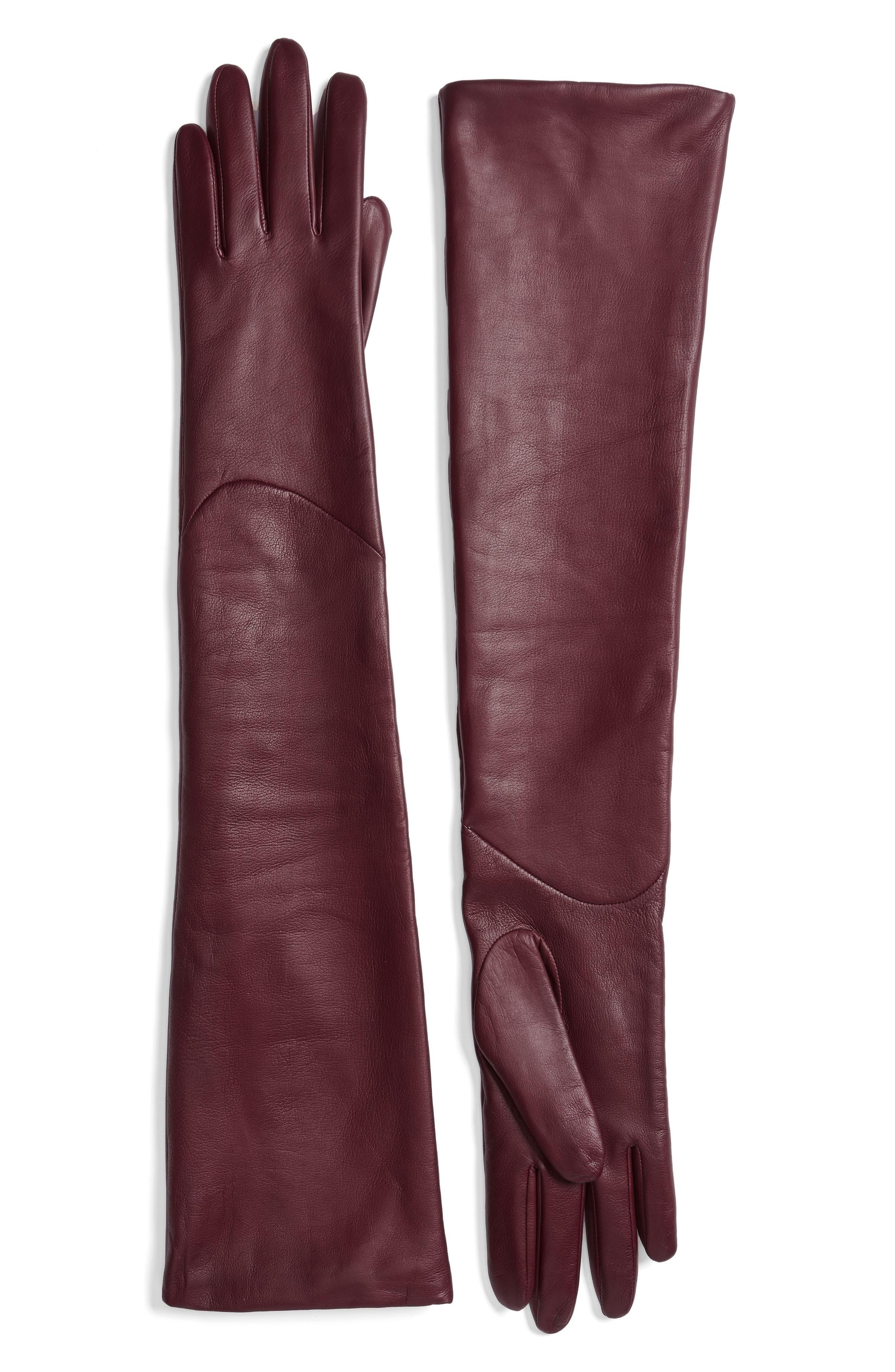 Long Leather Gloves,                         Main,                         color, Burgundy