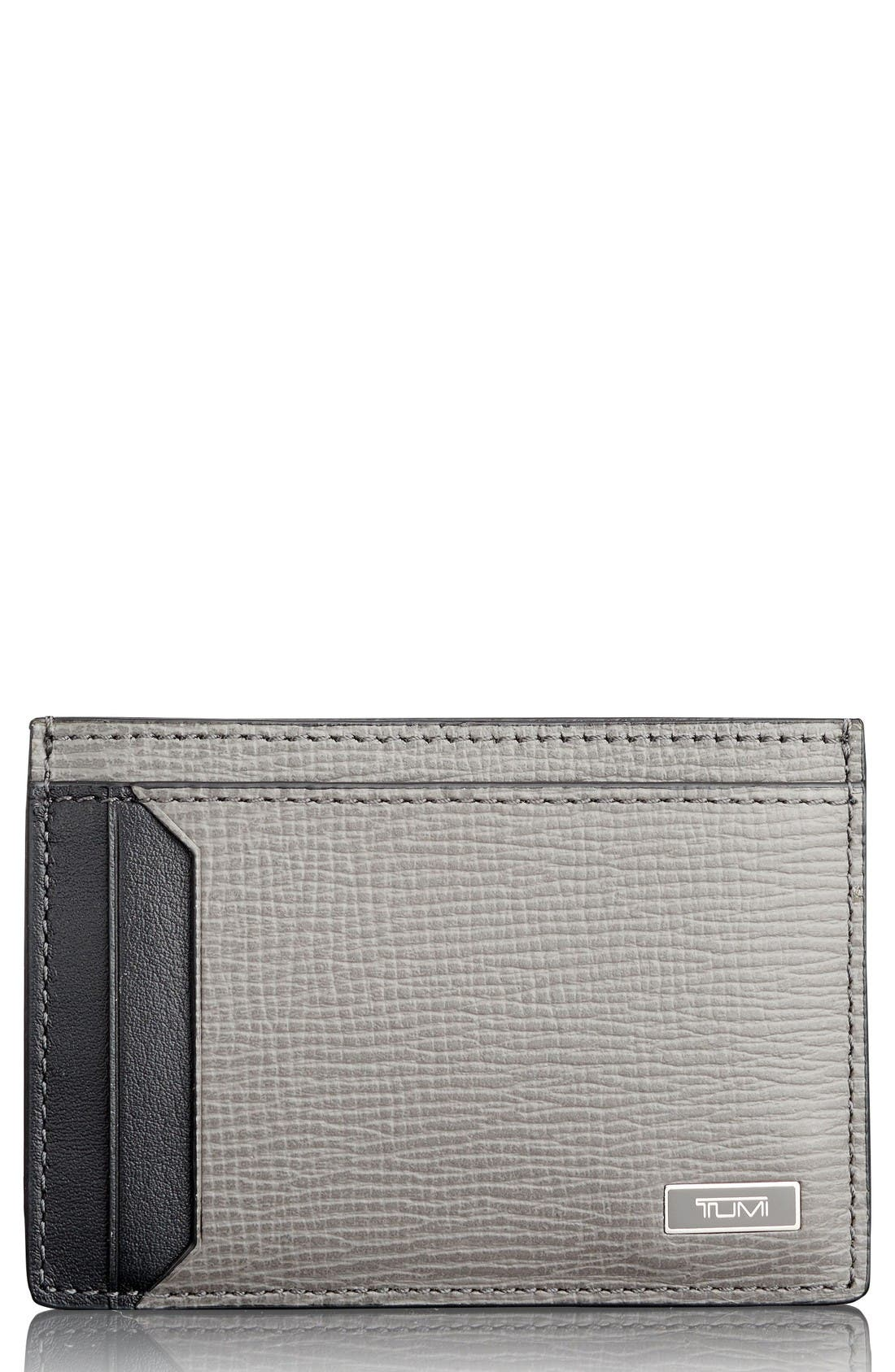 Monaco Leather RFID Money Clip Card Case,                         Main,                         color, Grey
