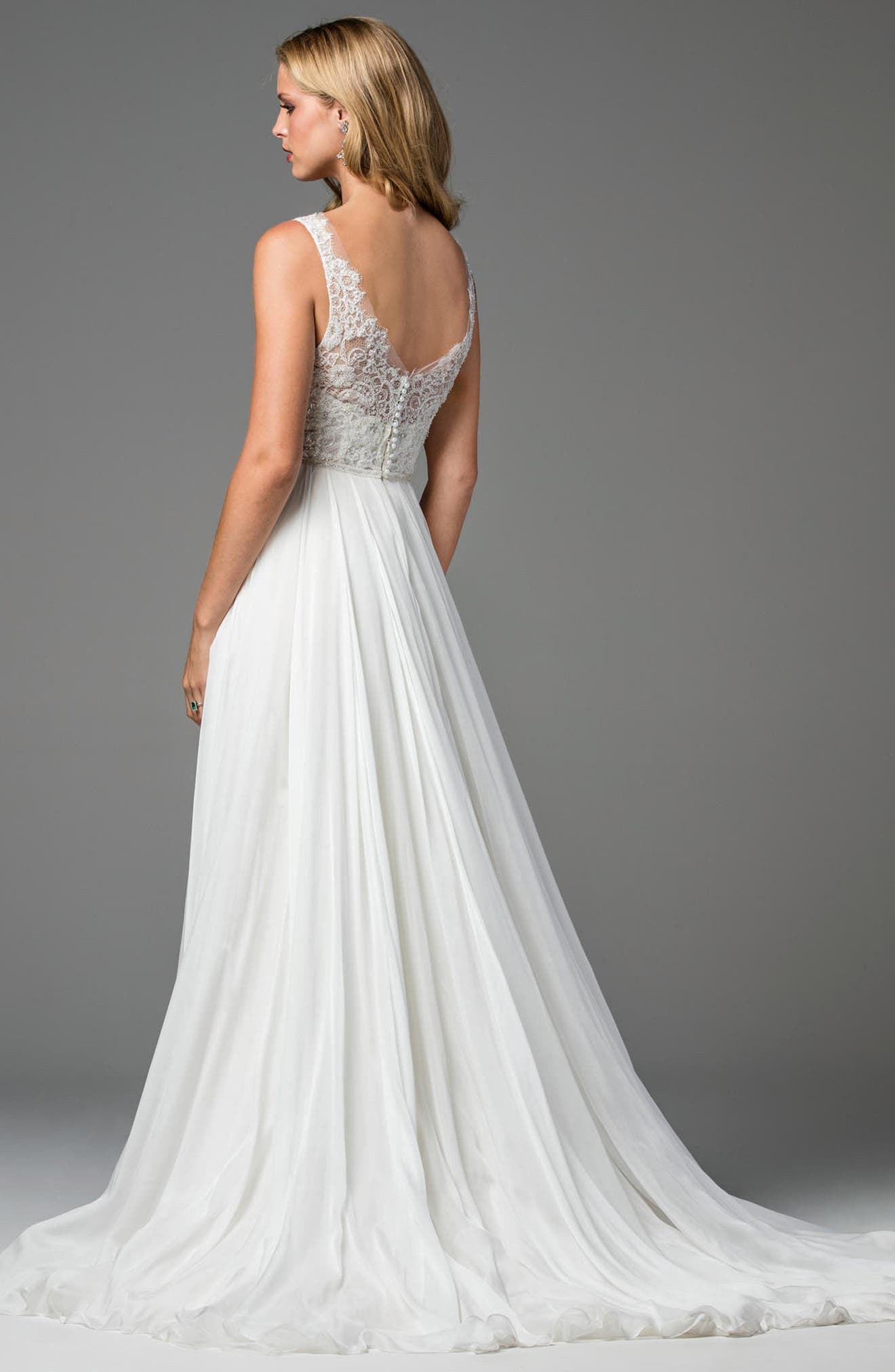 Stafford Silk Organza Gown,                             Alternate thumbnail 2, color,                             Ivory