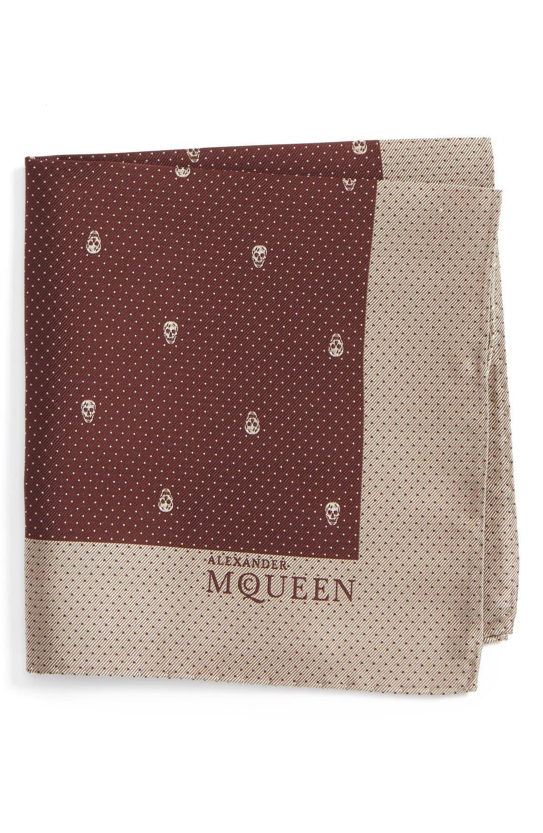 Alexander McQueen Skull Dot Silk Pocket Square