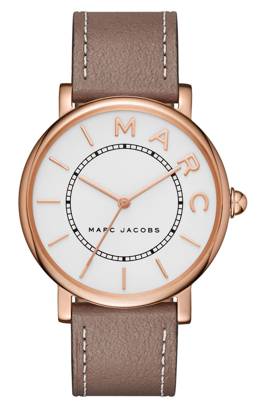 Classic Leather Strap Watch, 36mm,                         Main,                         color, Cement/ White/ Rose Gold