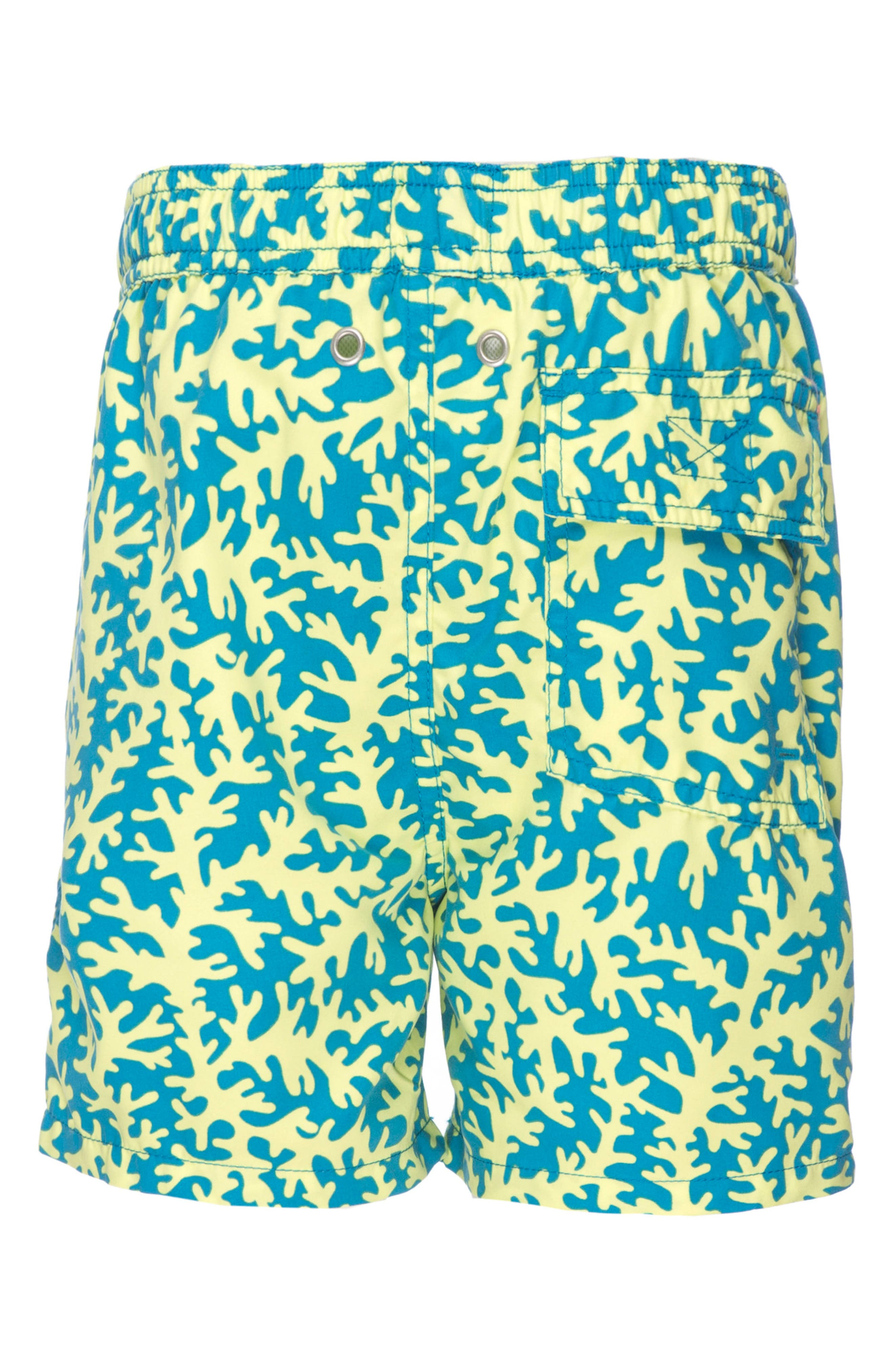 Coral Swim Trunks,                             Alternate thumbnail 4, color,                             Blue/ Lime