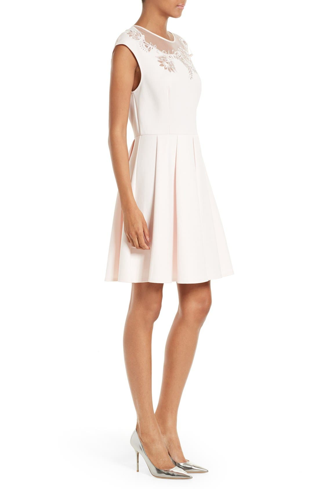 Alternate Image 3  - Ted Baker London Dollii Embroidered Illusion Fit & Flare Dress