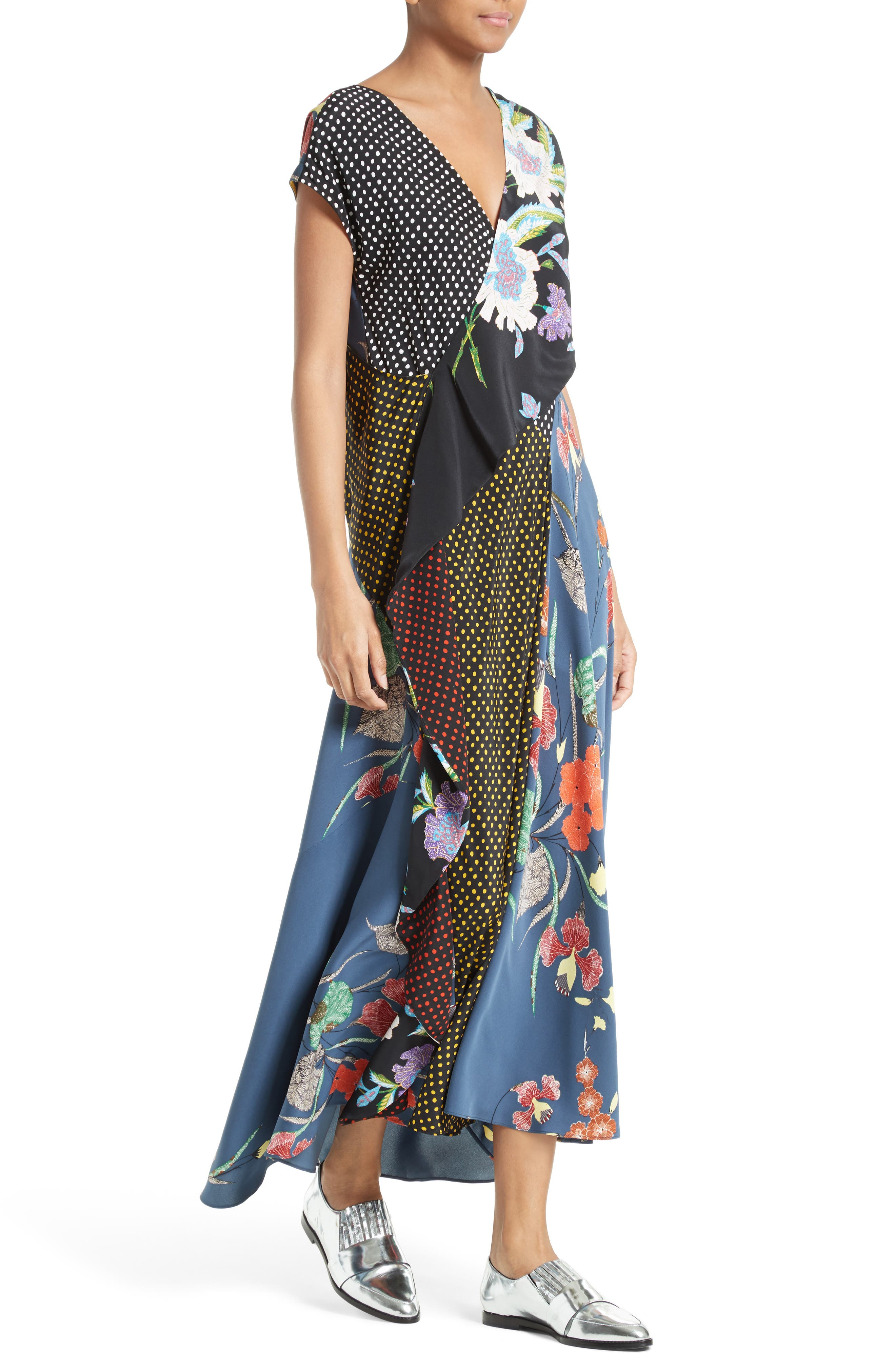 Faux Wrap Silk Maxi Dress,                             Alternate thumbnail 4, color,                             Ferma Blue