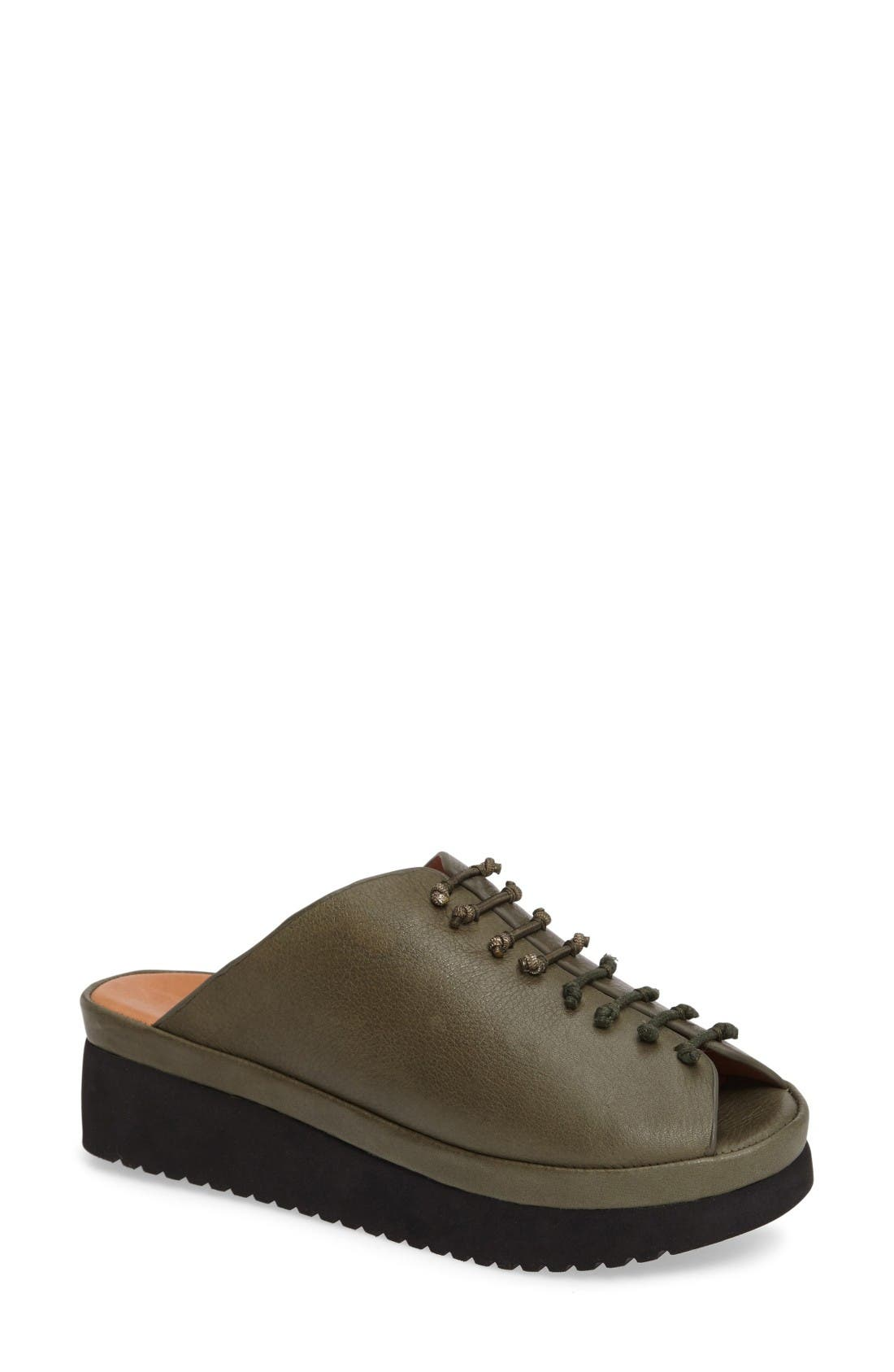 Arienne Wedge Platform Sandal,                         Main,                         color, Olive Leather