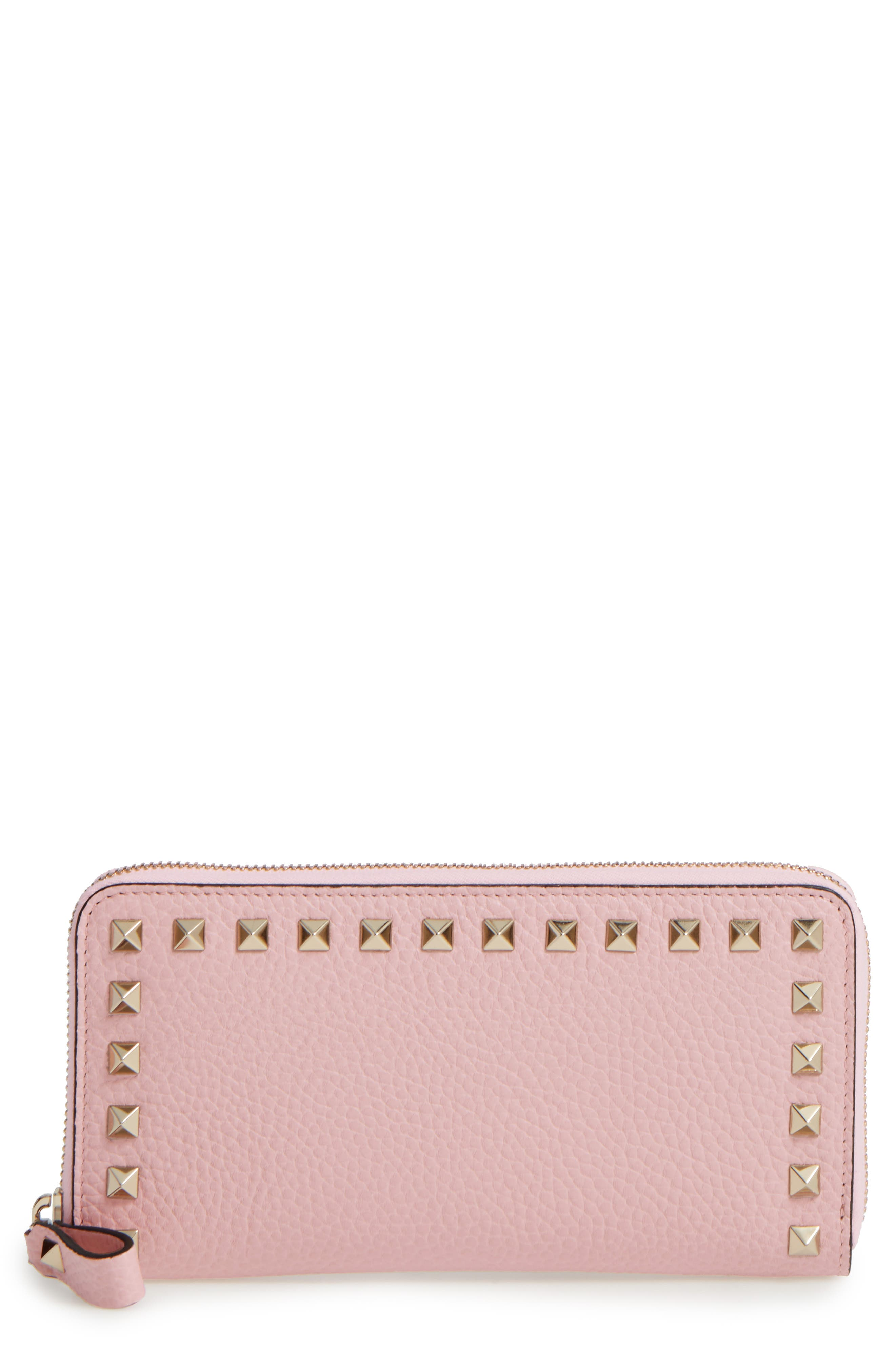 Rockstud Continental Leather Wallet,                         Main,                         color, Water Rose