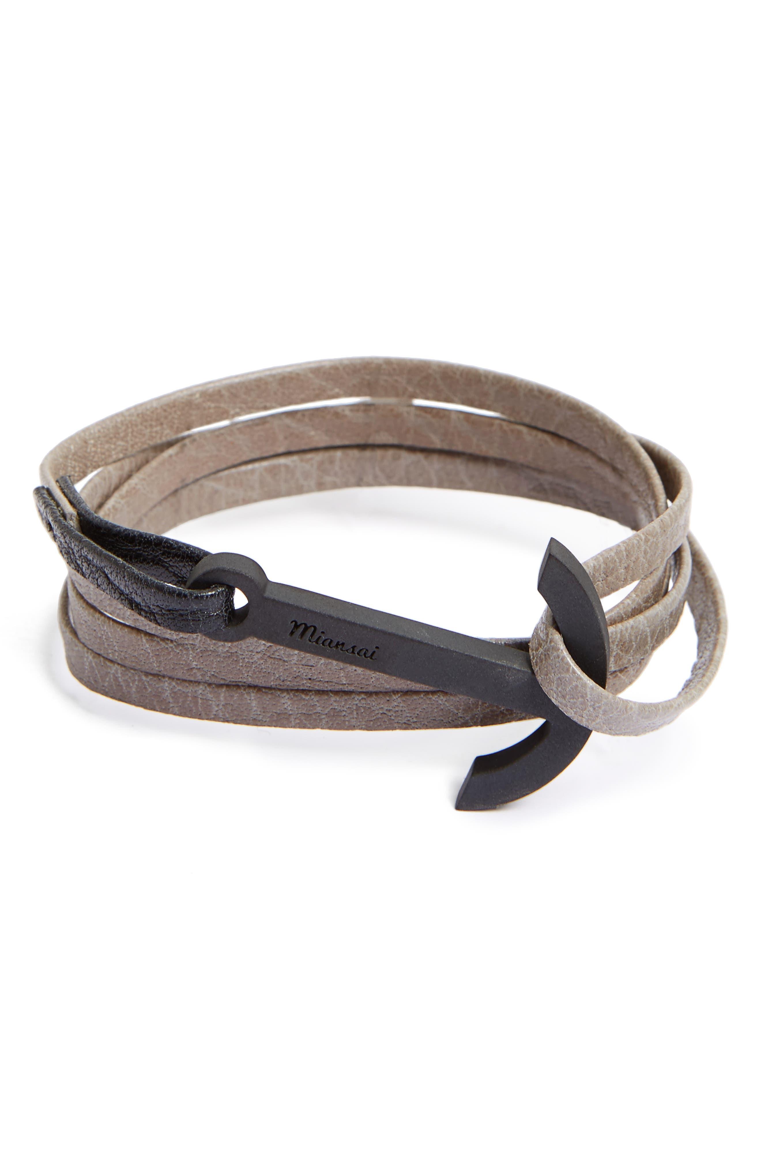 Modern Anchor Leather Wrap Bracelet,                         Main,                         color, Stone/ Black