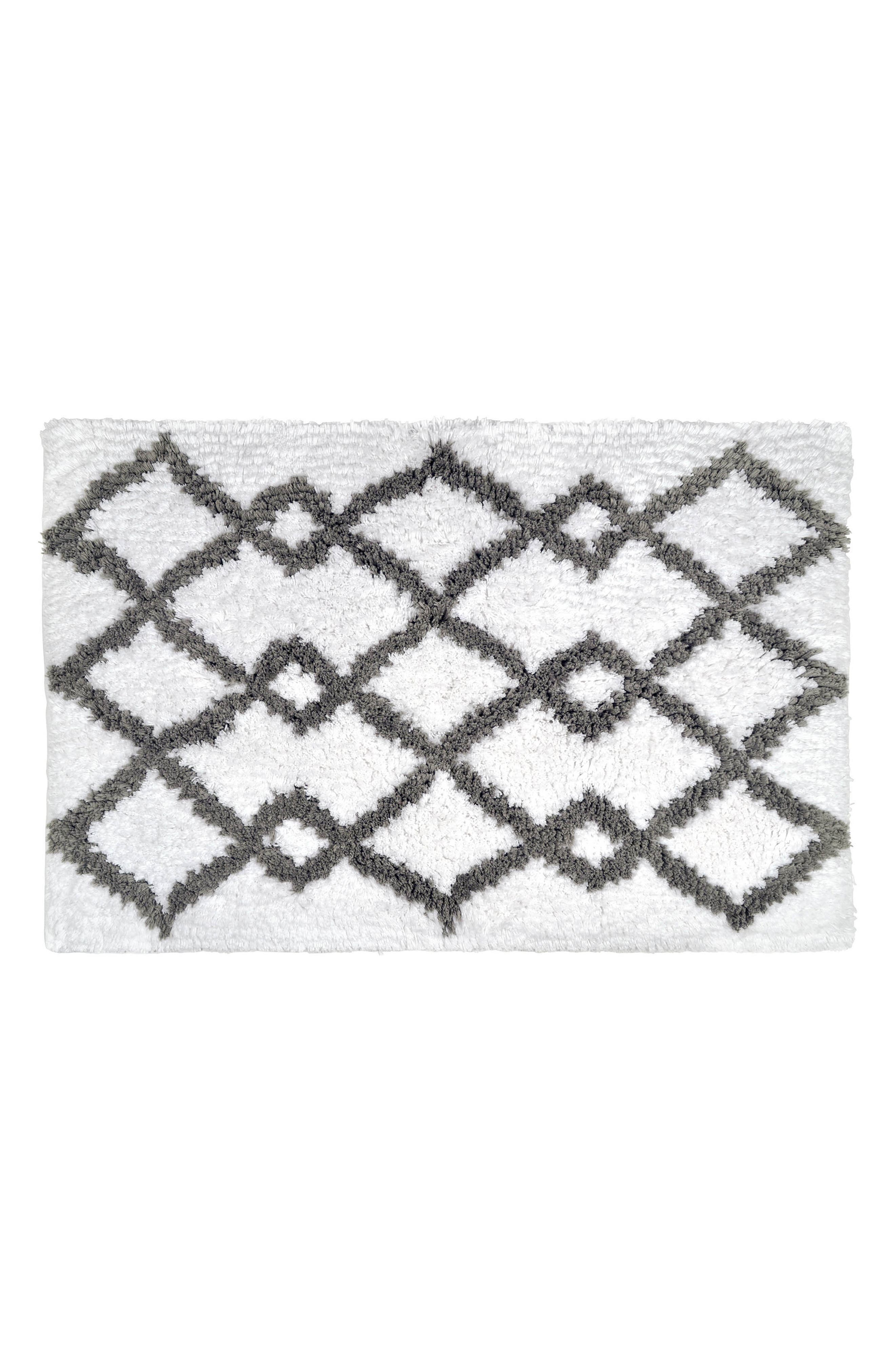 Hali Handwoven Bath Rug,                             Main thumbnail 1, color,                             Grey/ White