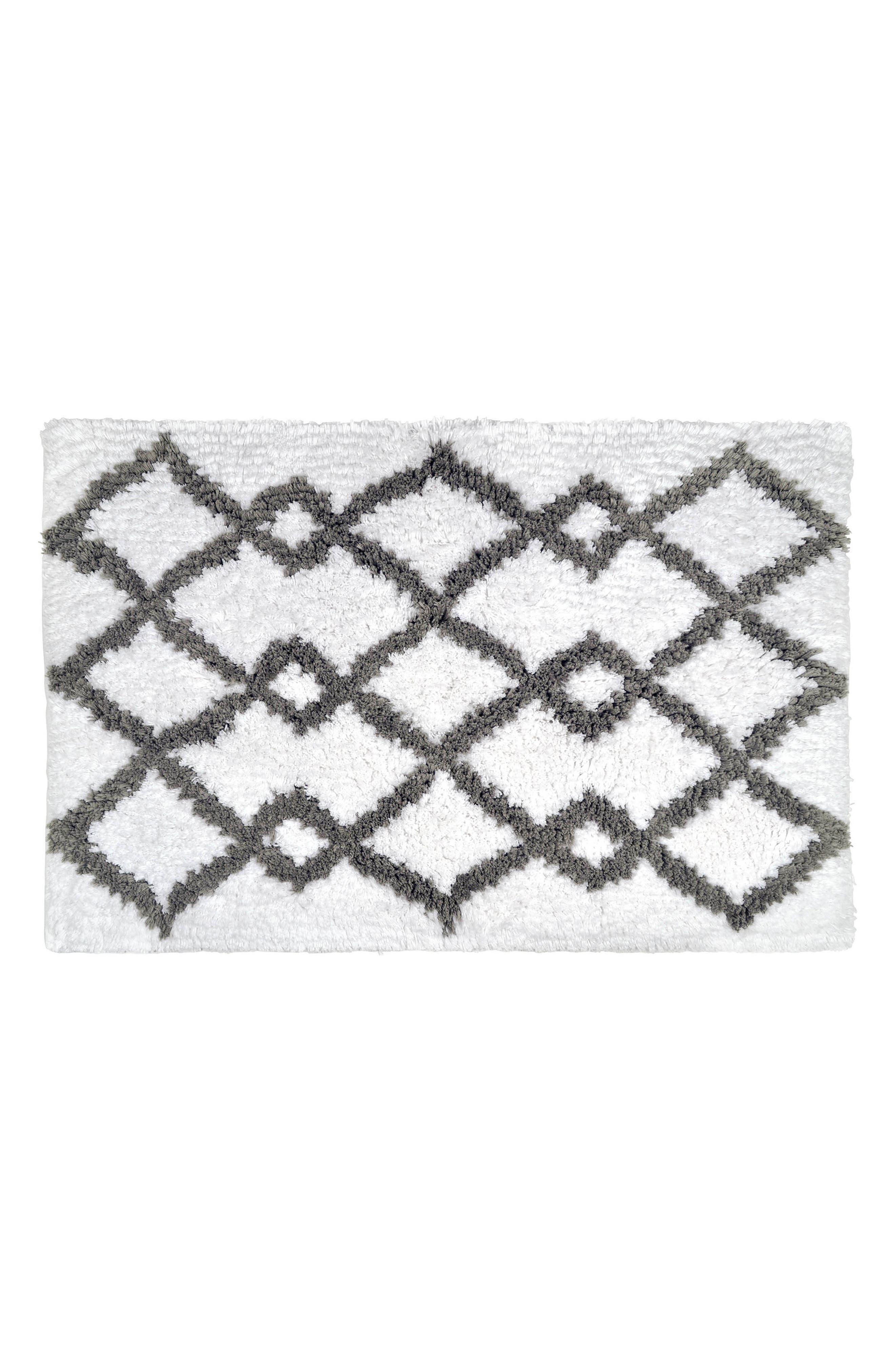 Hali Handwoven Bath Rug,                         Main,                         color, Grey/ White