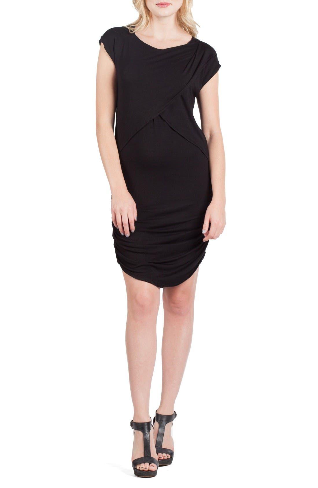 Miami Crossover Maternity/Nursing Sheath Dress,                             Main thumbnail 1, color,                             Black