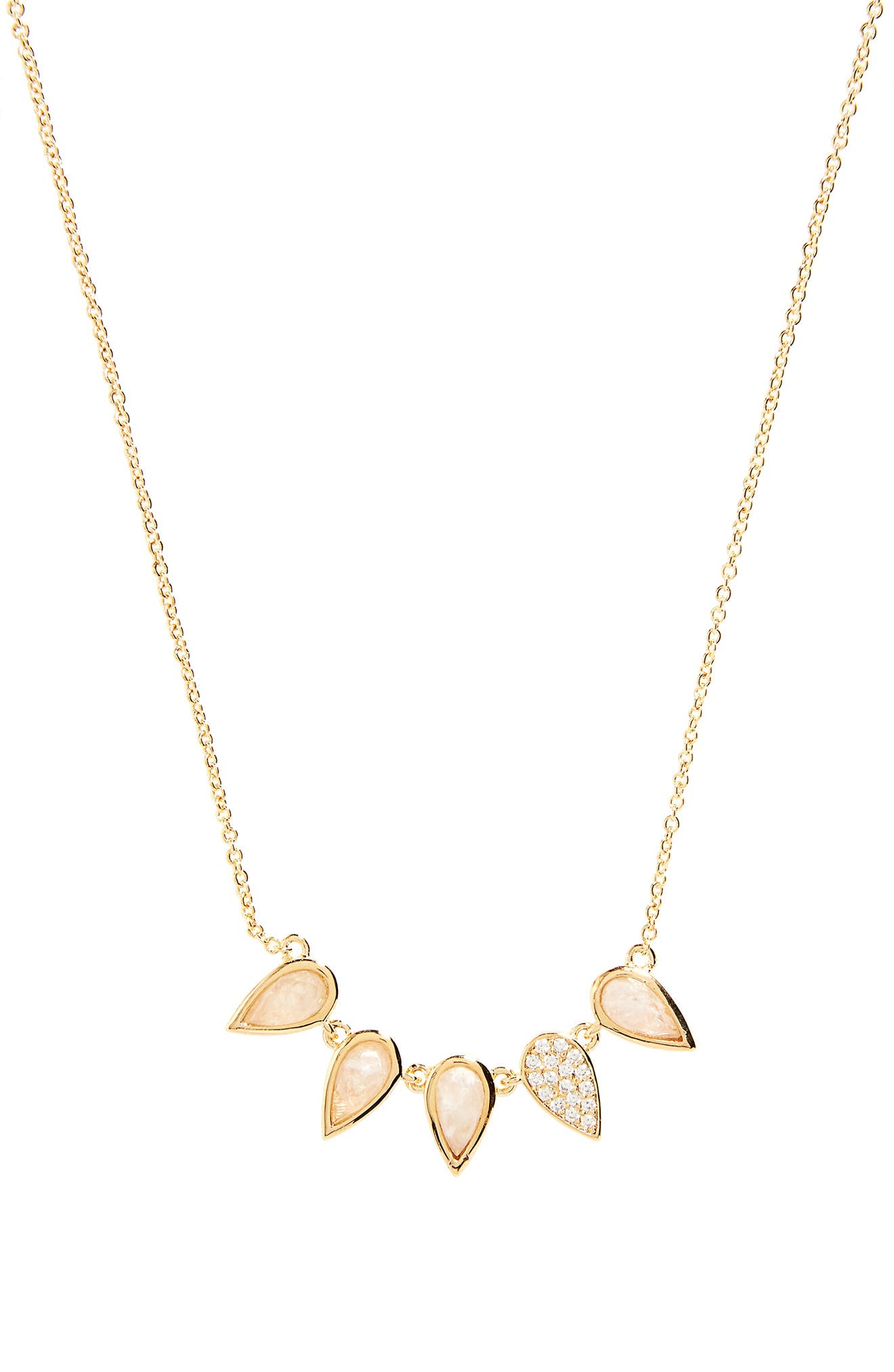 Multi Teardrop Frontal Necklace,                         Main,                         color, Moonstone / Gold