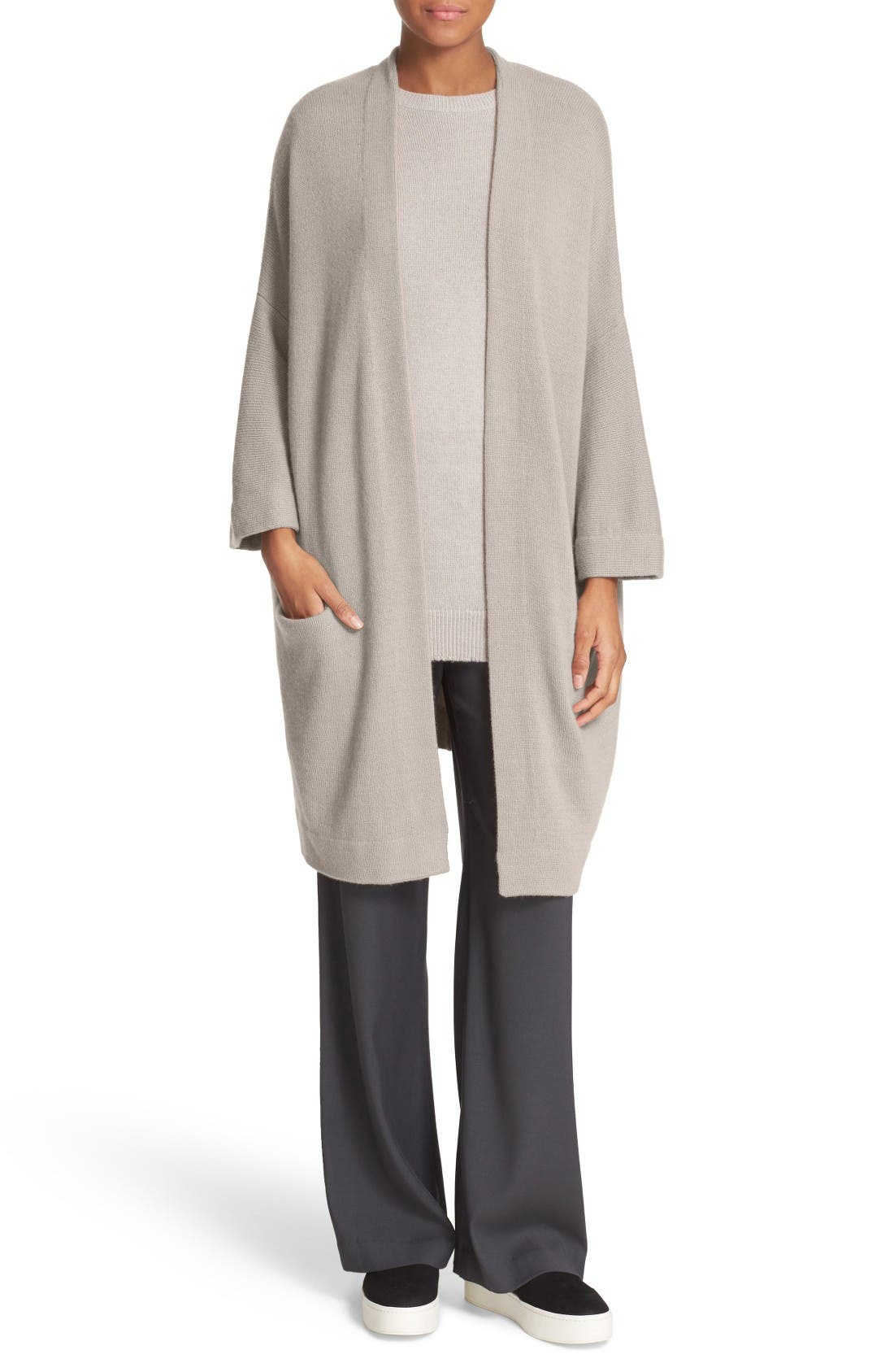 Alternate Image 1 Selected - Vince Open Front Cashmere Knit Coat