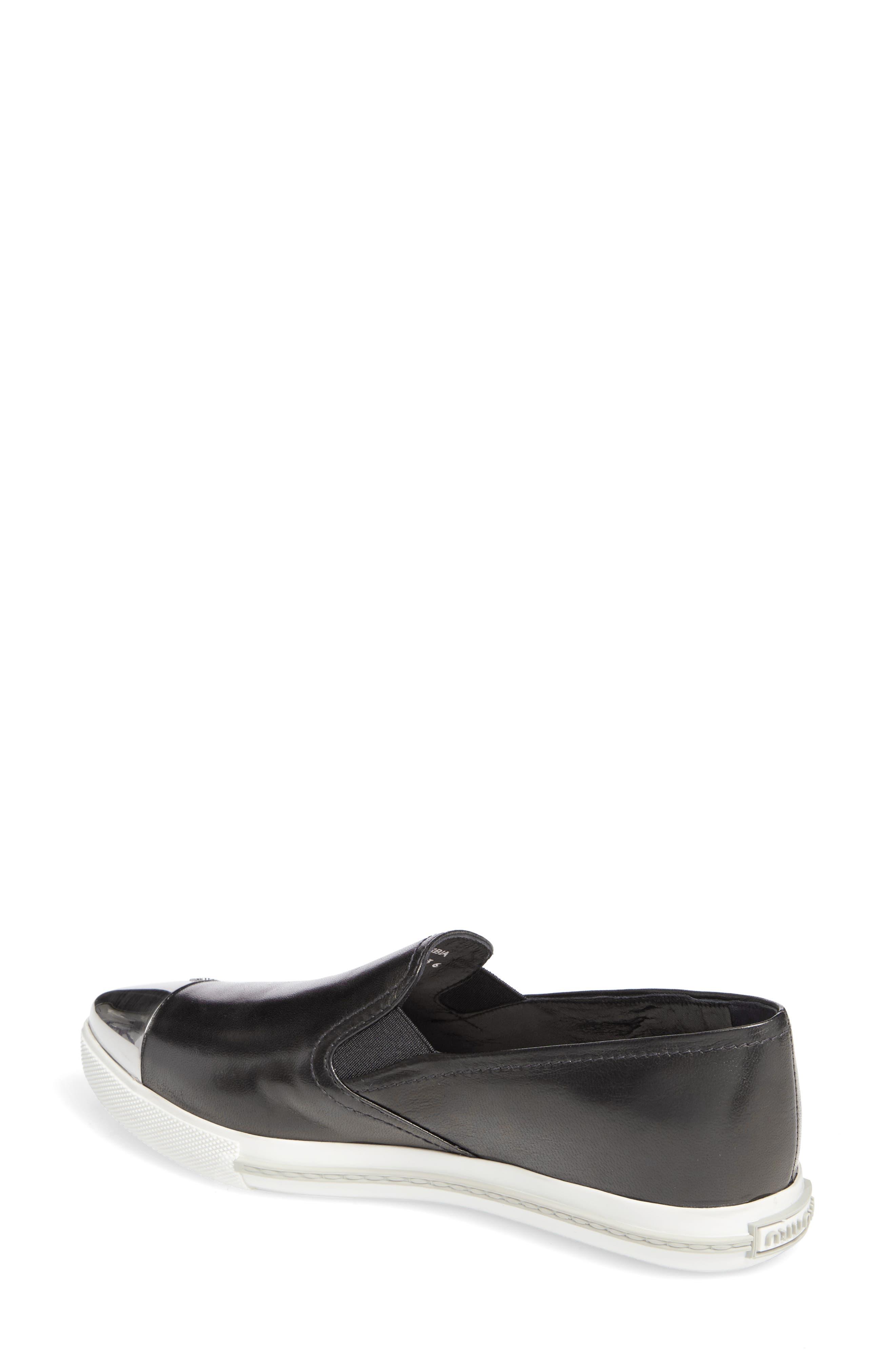 Metal Cap Toe Skate Sneaker,                             Alternate thumbnail 2, color,                             Black Nappa Leather