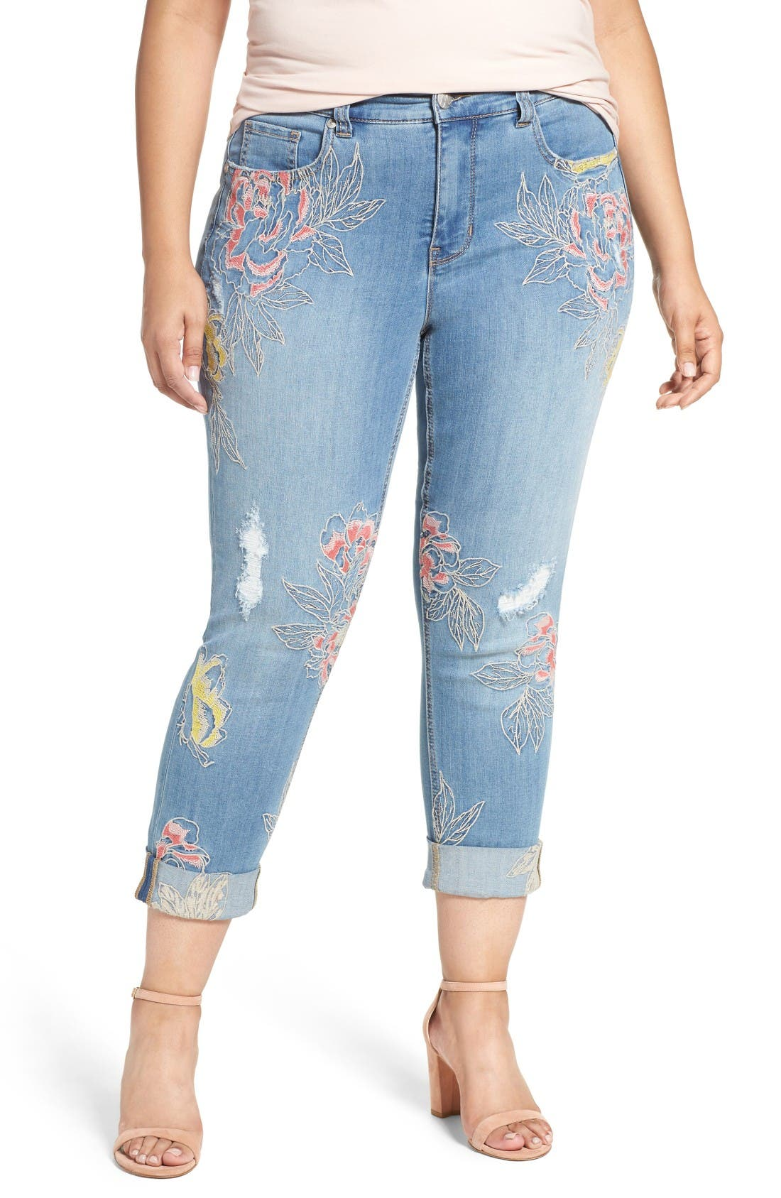 Alternate Image 1 Selected - Melissa McCarthy Seven7 Embroidered Skinny Jeans (Plus Size)