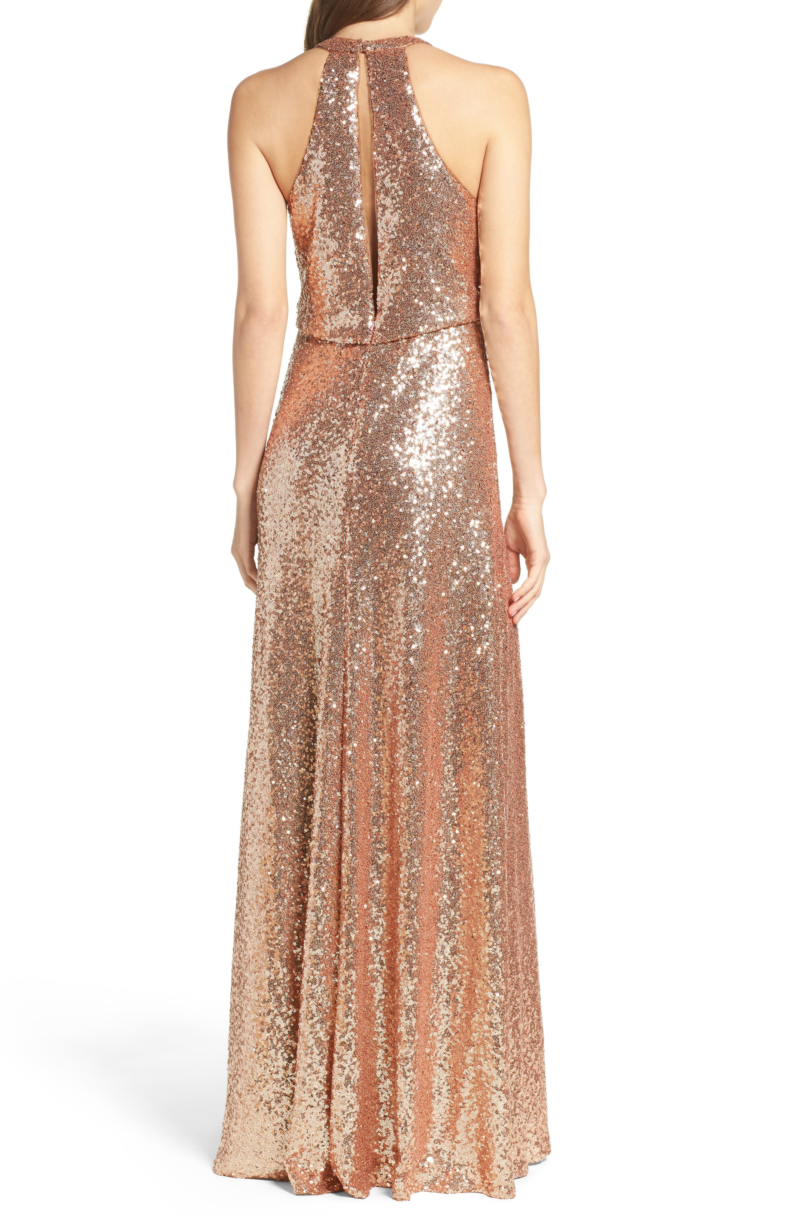 Sloane Sequin Halter Gown,                             Alternate thumbnail 2, color,                             Rose Gold