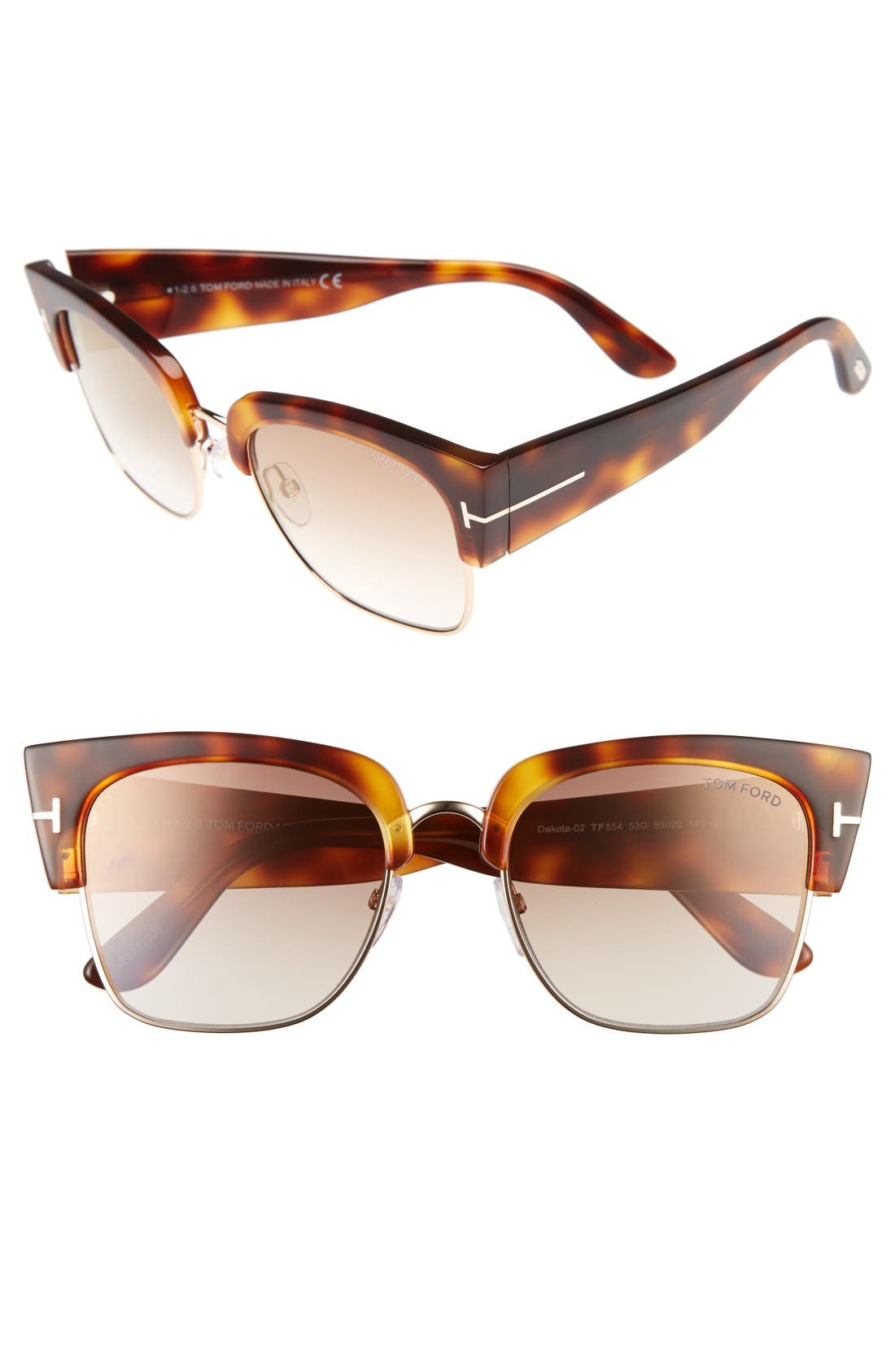 Dakota 55mm Retro Sunglasses,                             Main thumbnail 1, color,                             Blonde Havana/ Brown Mirror