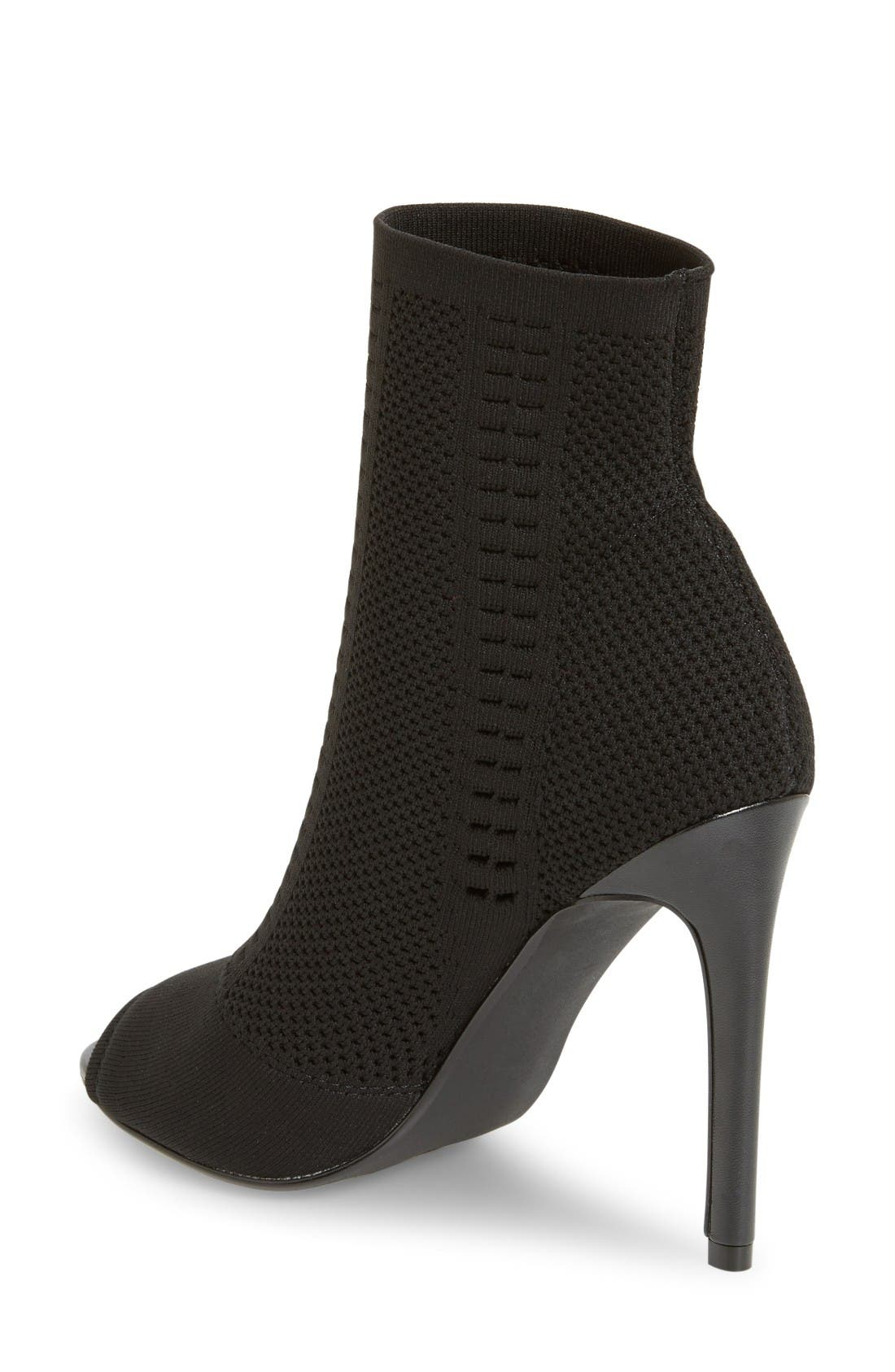 Candid Knit Bootie,                             Alternate thumbnail 2, color,                             Black Fabric