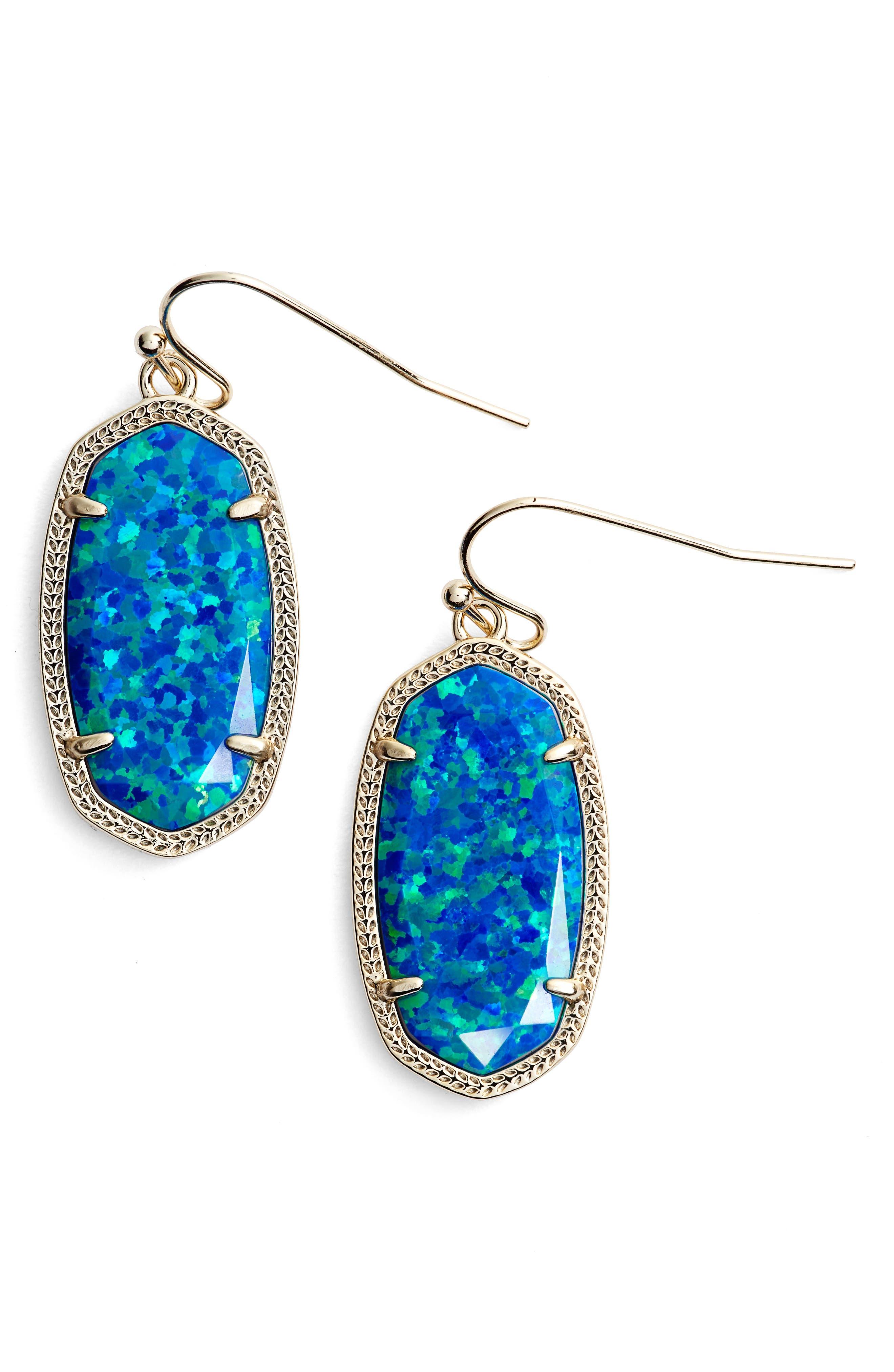 Dani Stone Drop Earrings,                             Main thumbnail 1, color,                             Royal Blue Kyocera Opal/ Gold