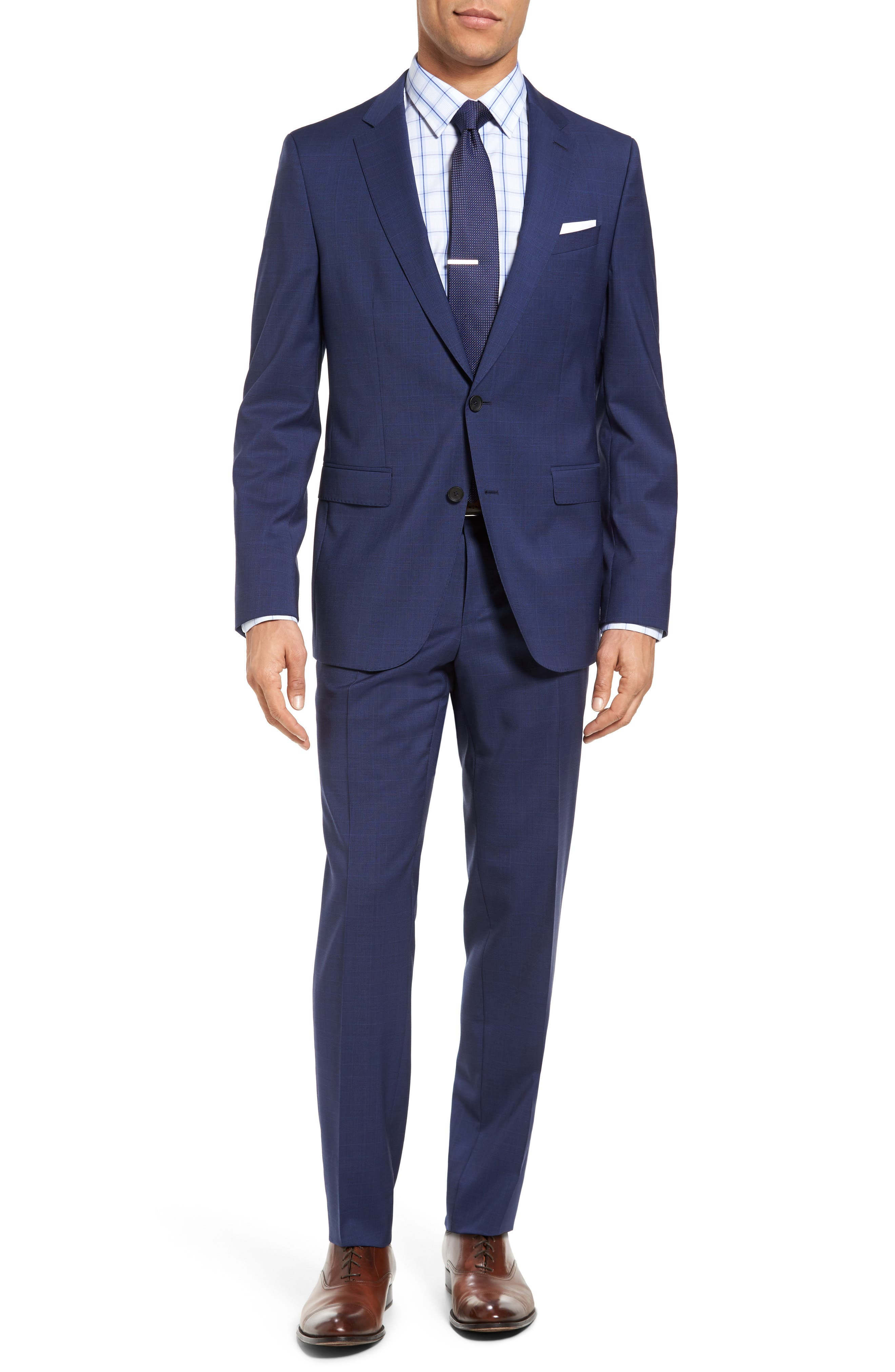 BOSS Novan/Ben Trim Fit Plaid Wool Suit