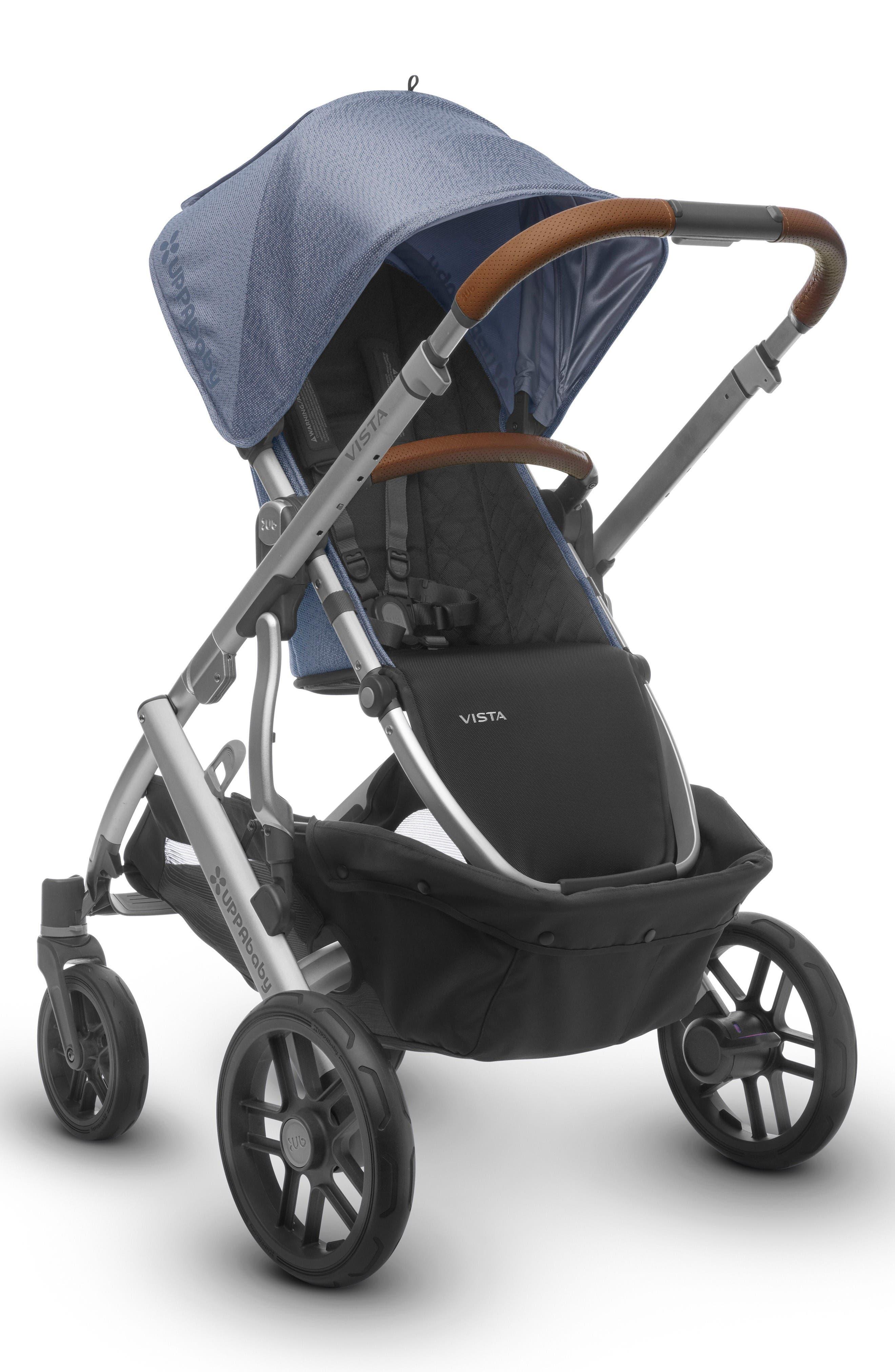 2017 VISTA Henry Aluminum Frame Convertible Stroller with Bassinet & Toddler Seat,                             Alternate thumbnail 5, color,                             Blue Marl
