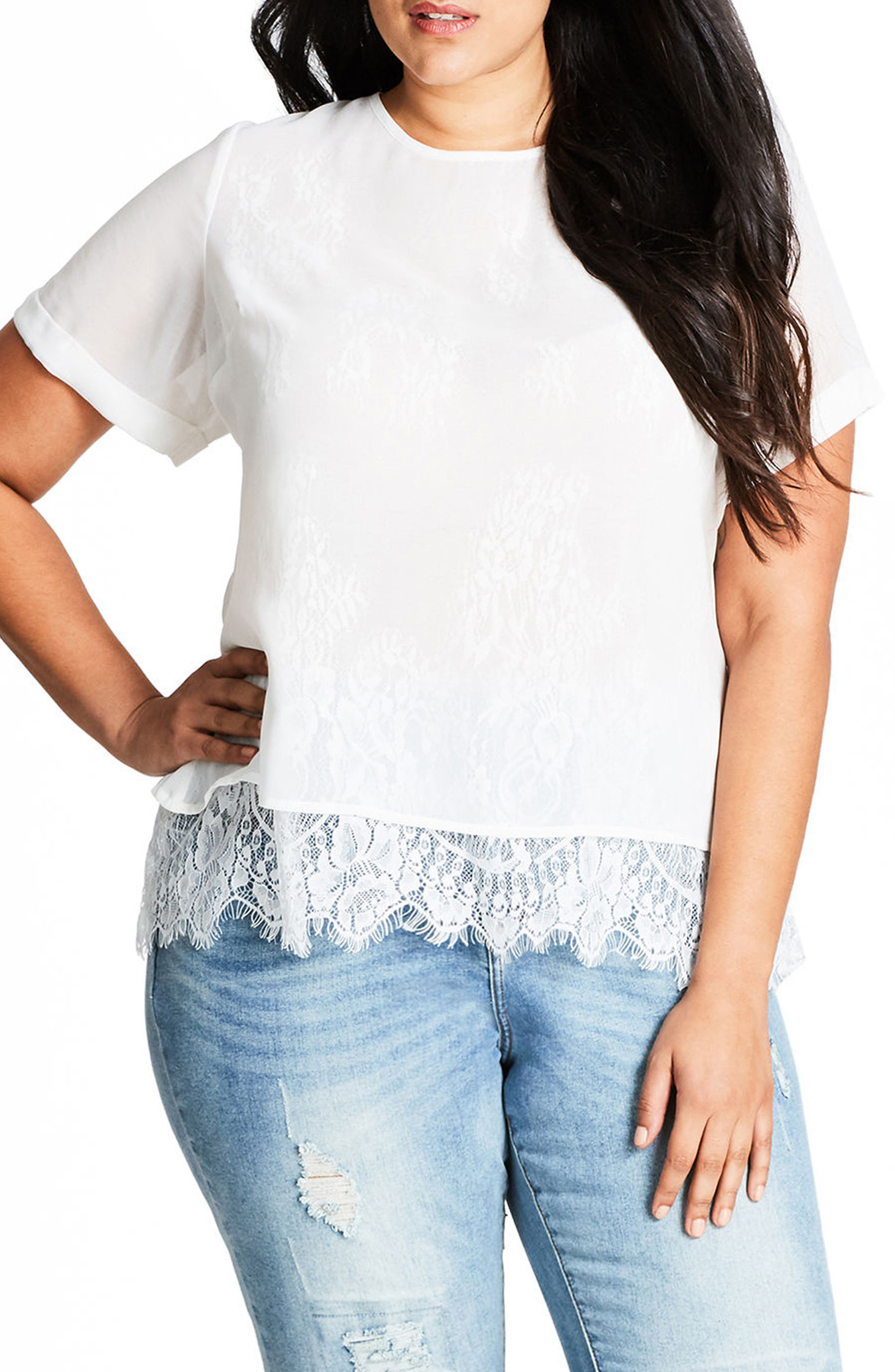 Lace Scallop Top,                         Main,                         color, Ivory