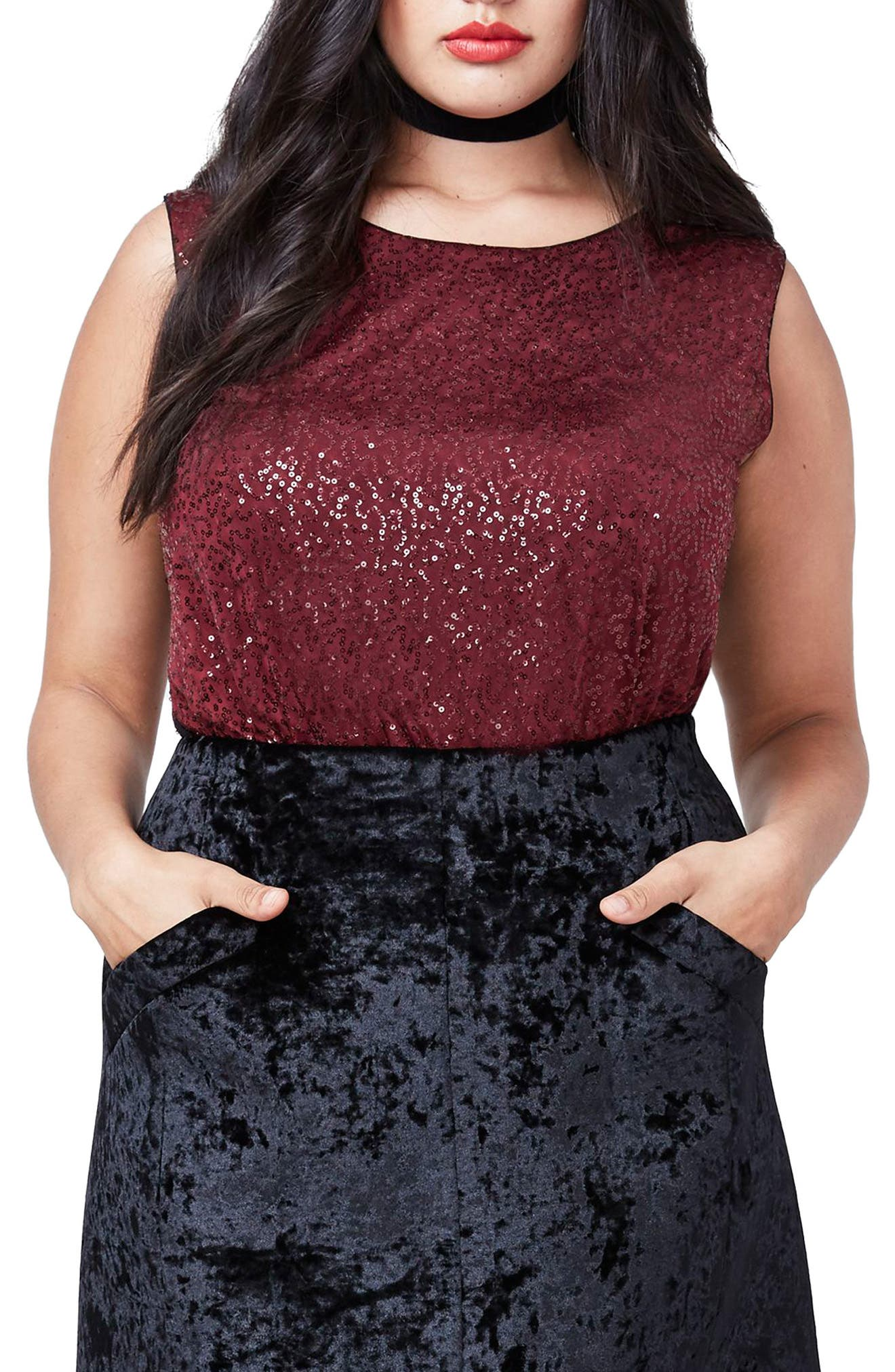 Alternate Image 1 Selected - RACHEL Rachel Roy Sequin Bodysuit (Plus Size)