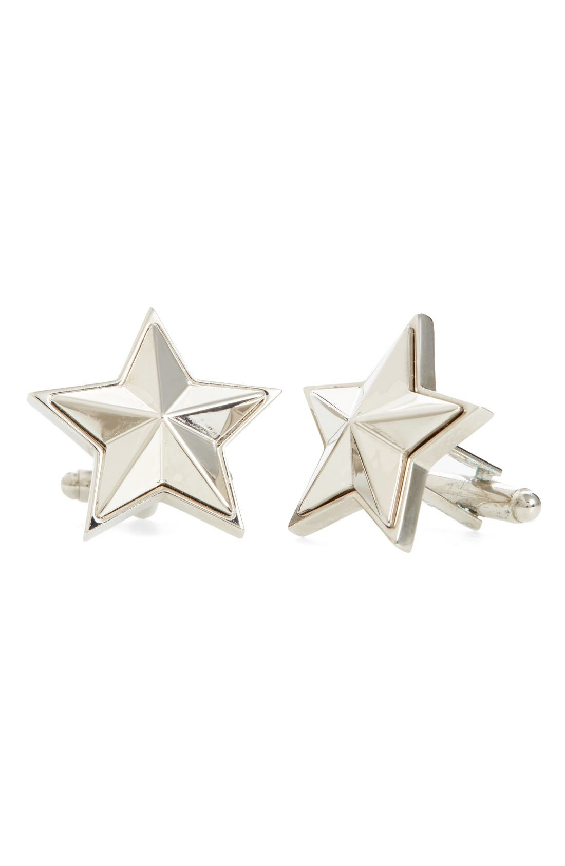 Stars Cuff Links,                         Main,                         color, Silver