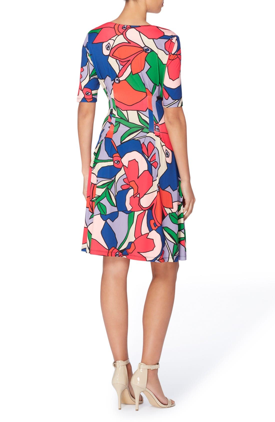 Alternate Image 2  - Catherine Catherine Malandrino Jonni Pleat Jersey Fit & Flare Dress