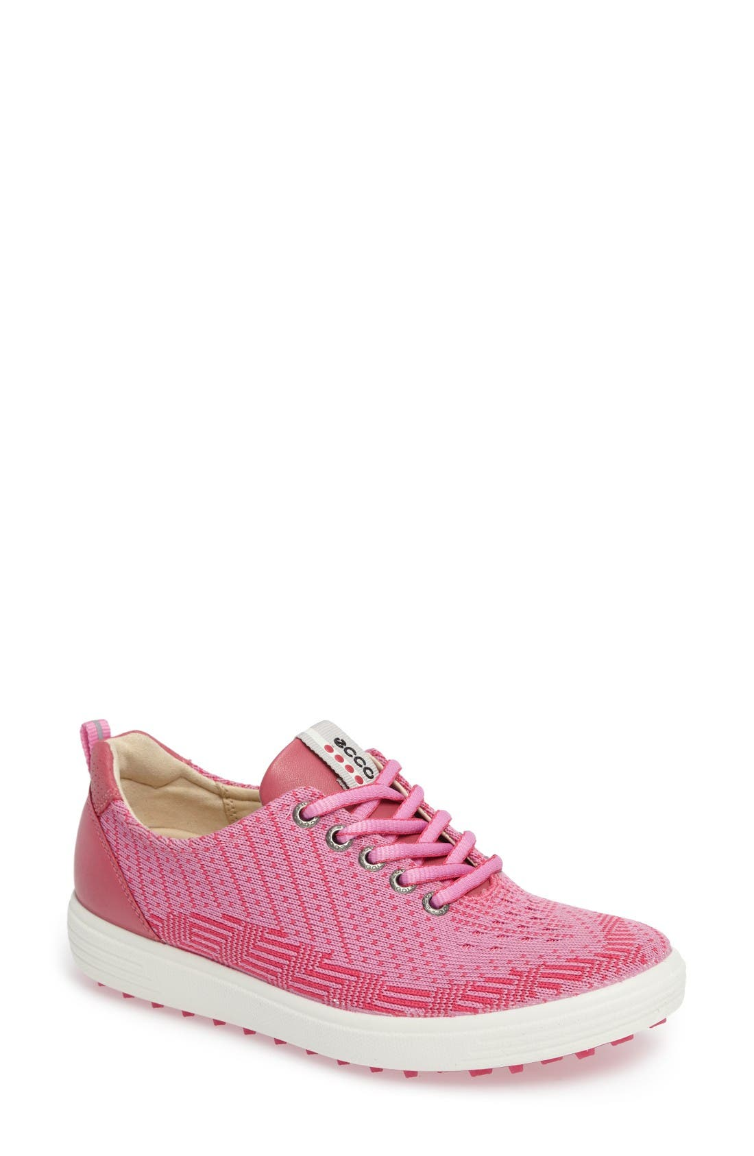 Casual Hybrid Knit Golf Sneaker,                             Main thumbnail 1, color,                             Pink/ Beetroot Leather