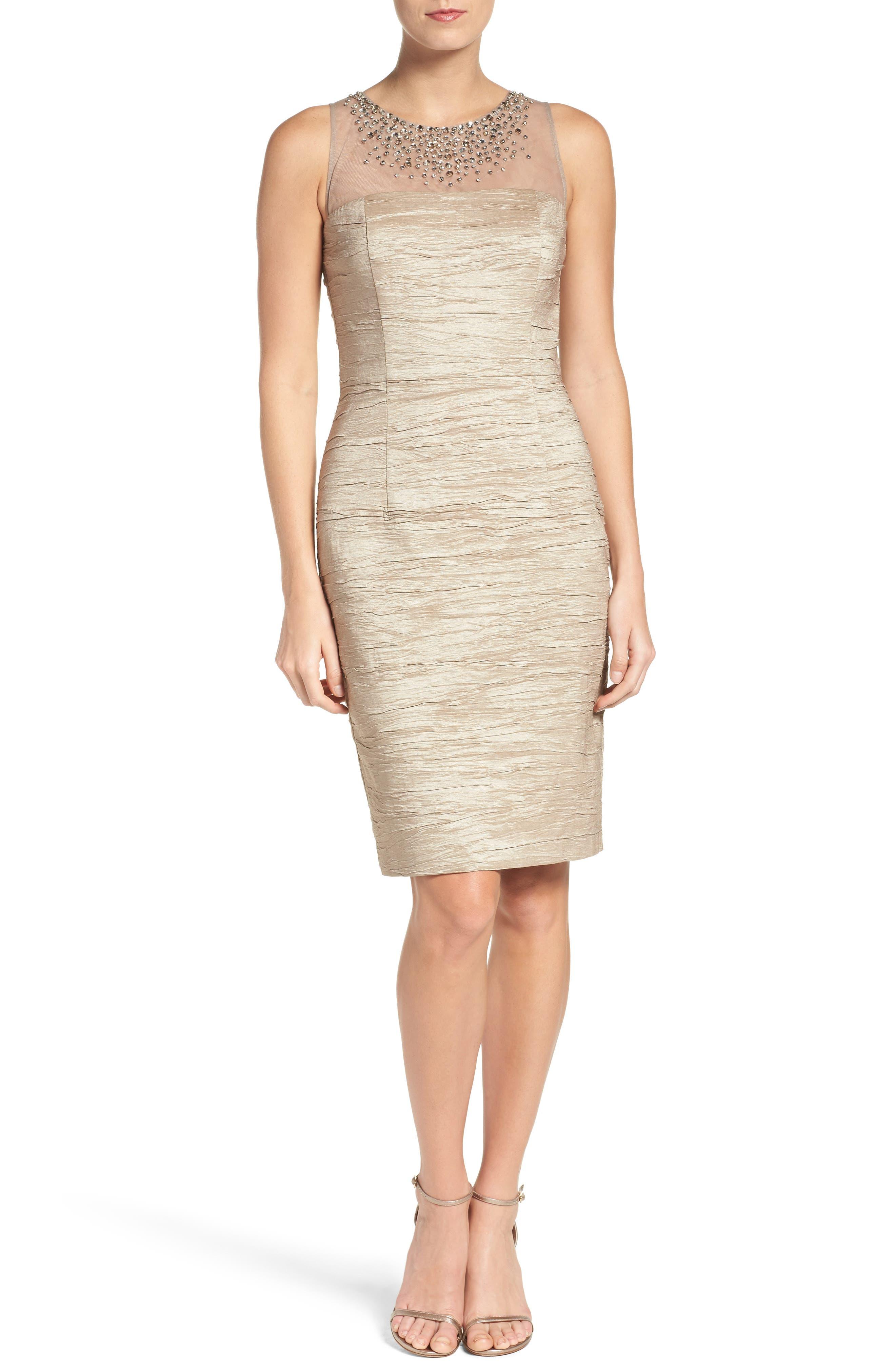 Metallic Sheath Dress,                         Main,                         color, Taupe