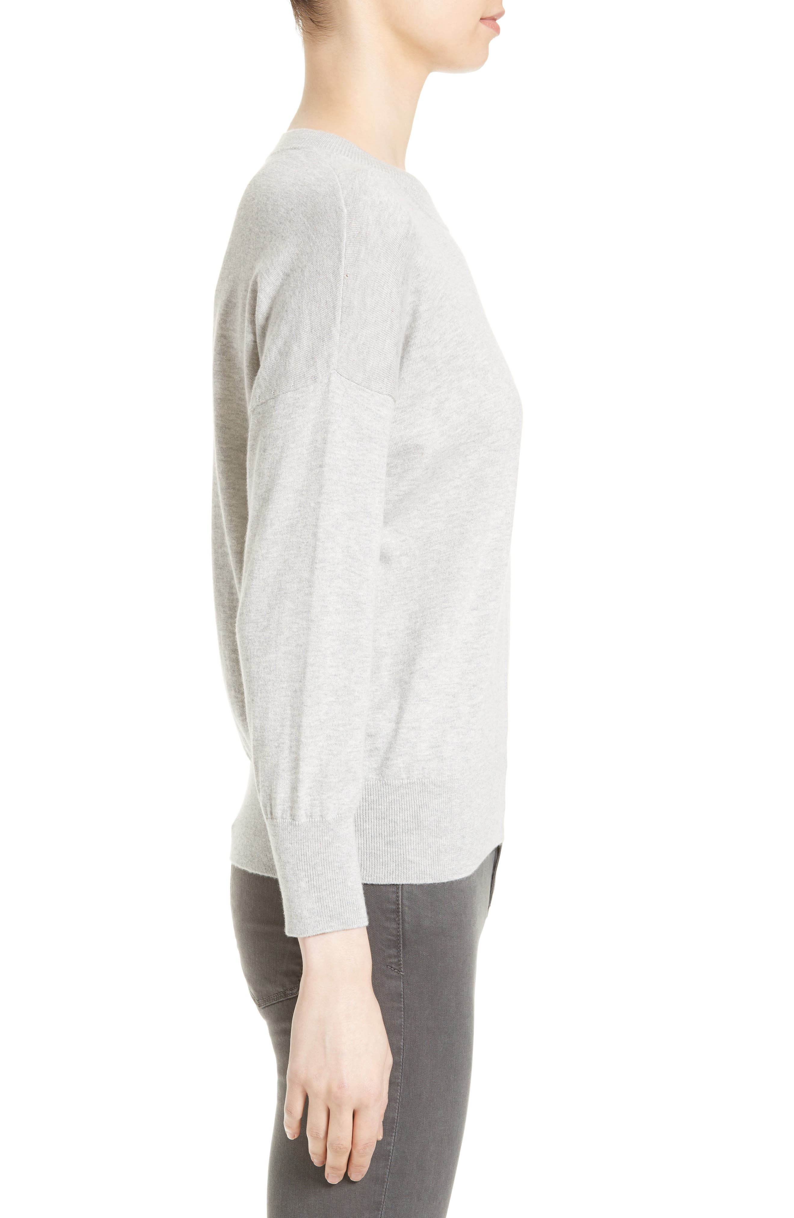 Melanie Cotton & Cashmere Pullover,                             Alternate thumbnail 3, color,                             Light Heather Grey