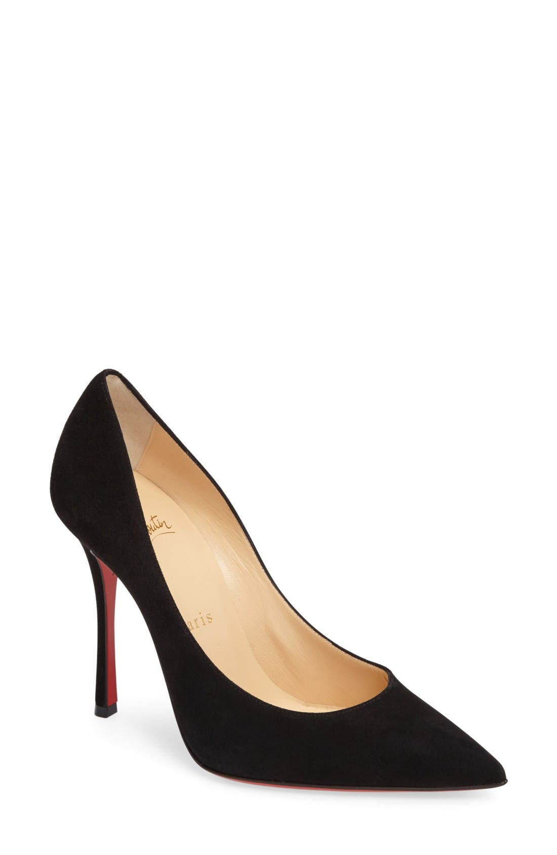 Decoltish Pointy Toe Pump,                             Main thumbnail 1, color,                             Black Suede