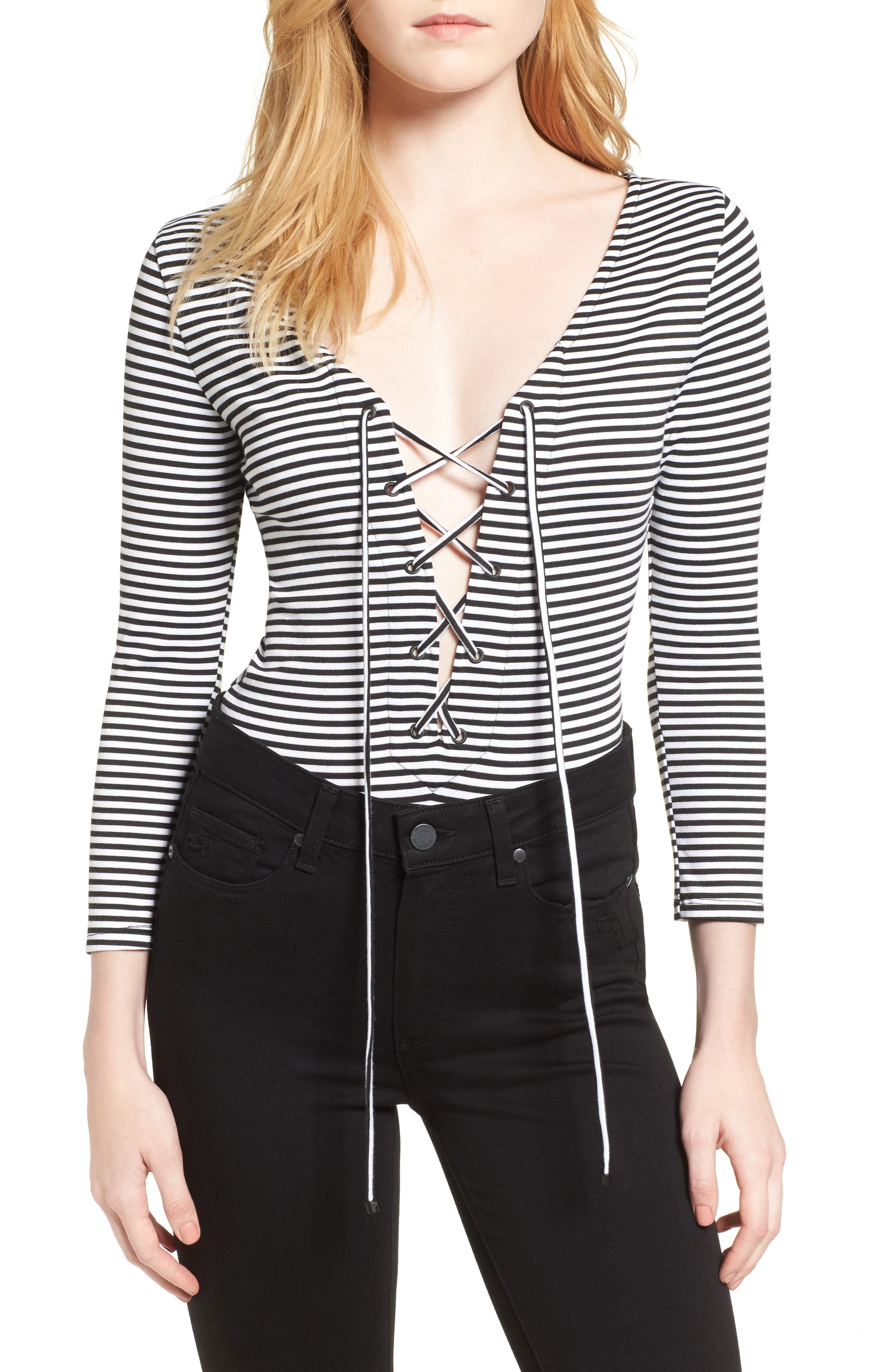 KENDALL + KYLIE Lace-Up Bodysuit