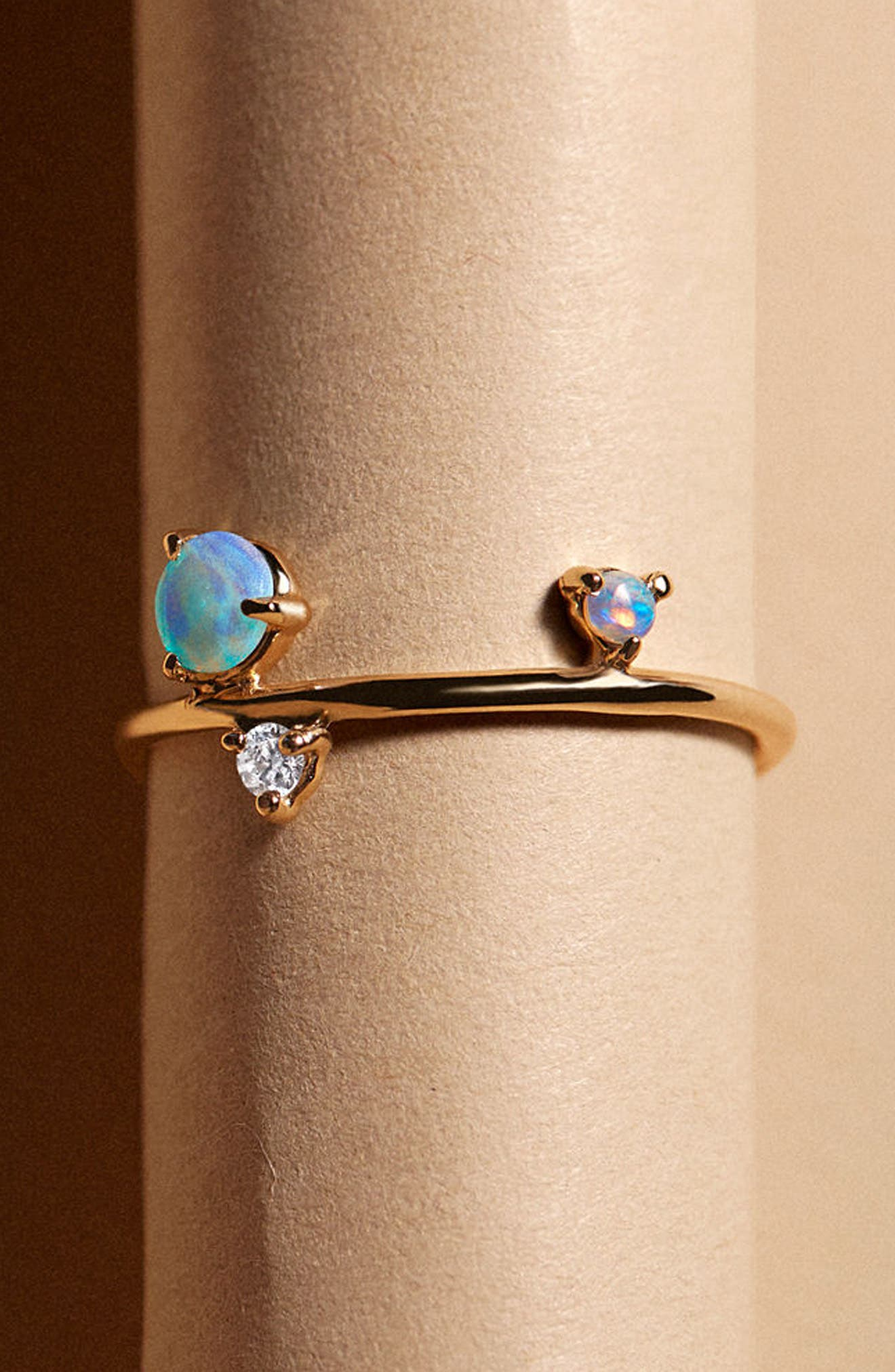 Counting Collection Three-Step Balloon Opal & Diamond Ring,                             Alternate thumbnail 4, color,                             Yellow Gold