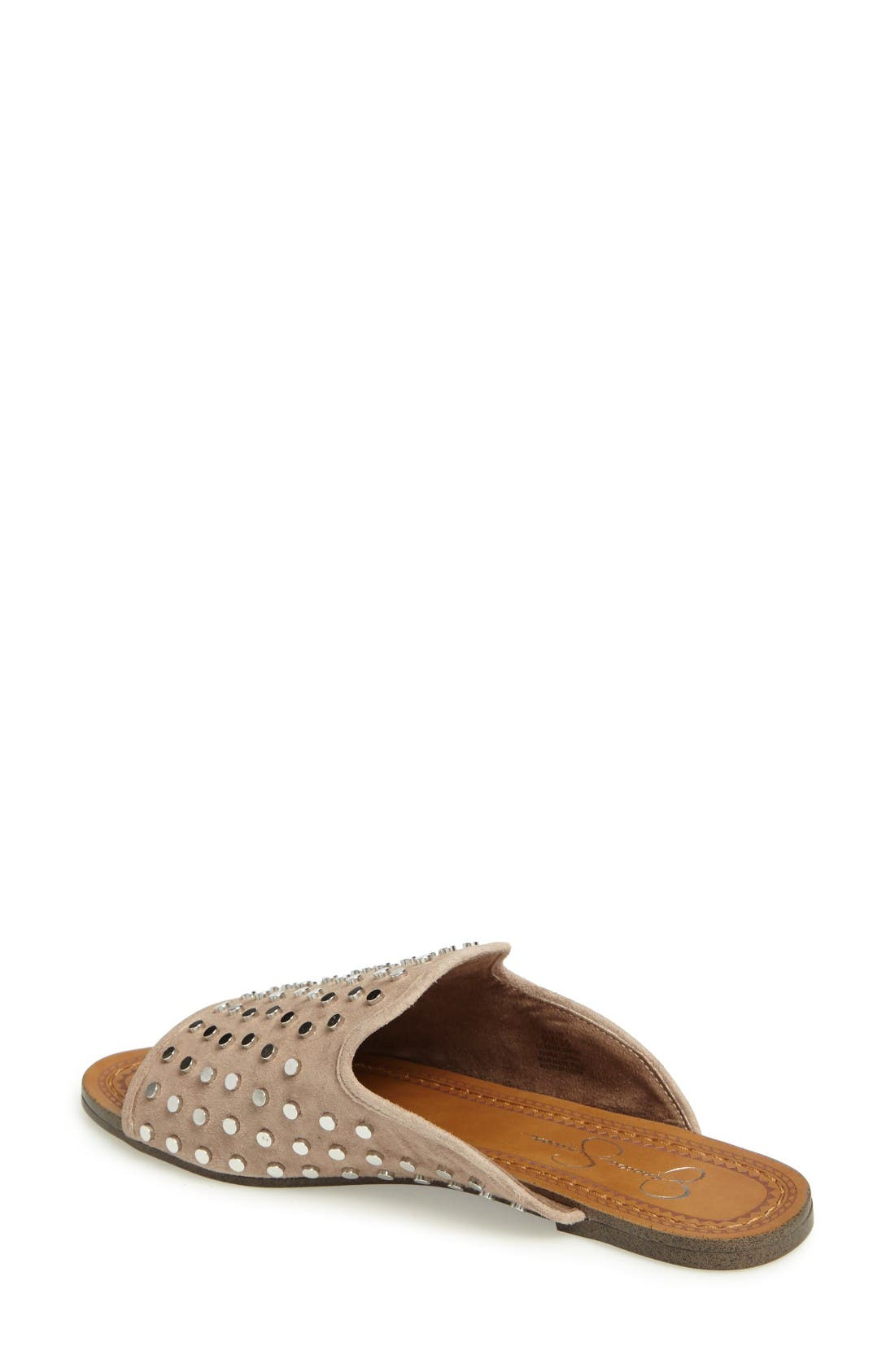 Kloe Studded Slide Sandal,                             Alternate thumbnail 2, color,                             Warm Taupe Suede
