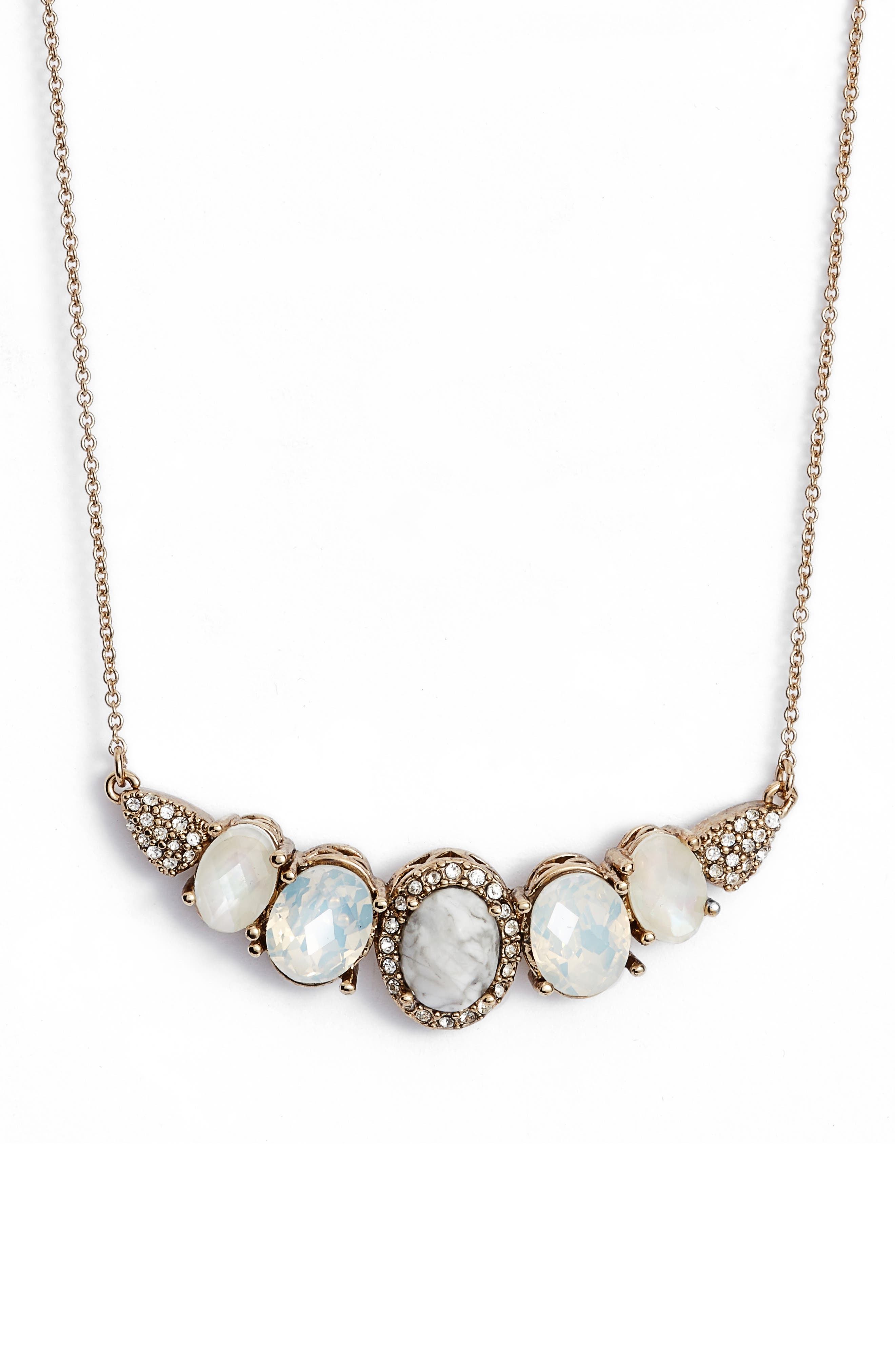 Wanderlust Frontal Necklace,                             Main thumbnail 1, color,                             Gold/ White Multi