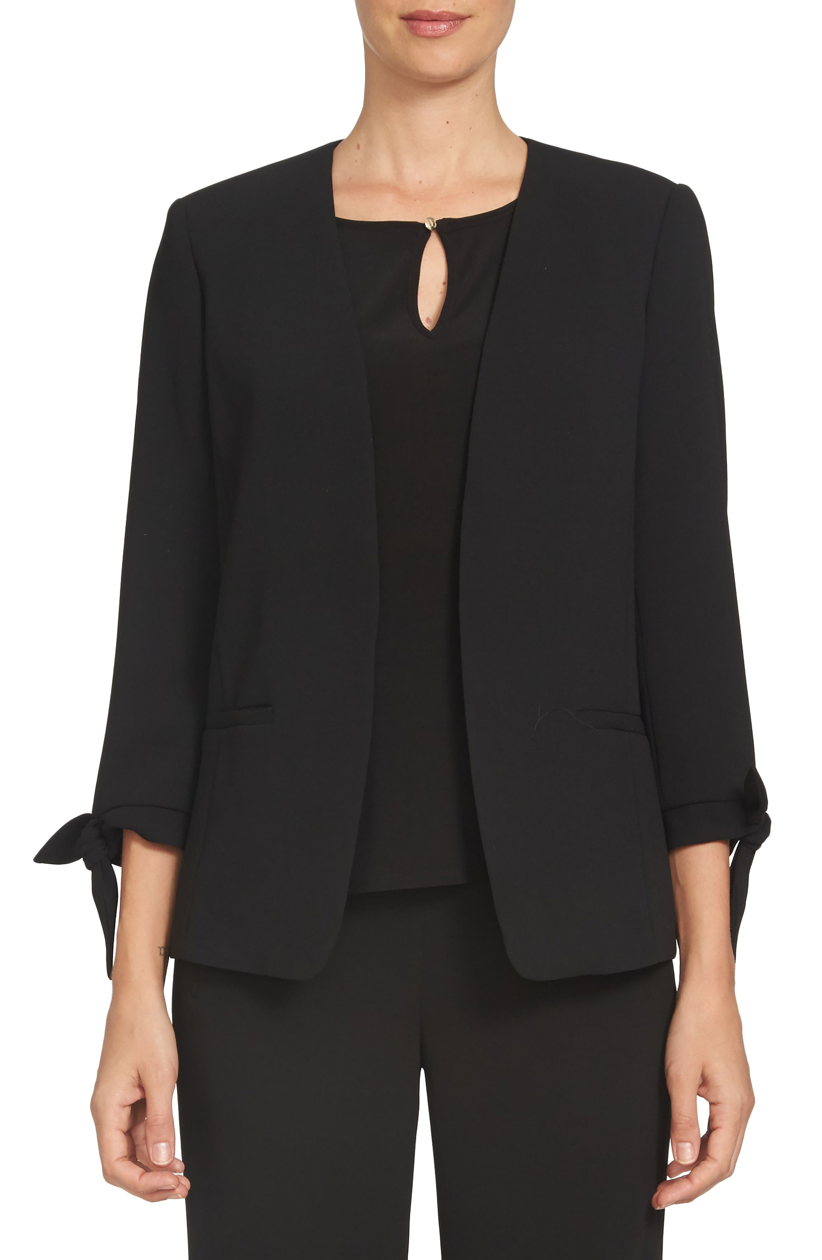 Tie Sleeve Open Front Blazer,                         Main,                         color, Black