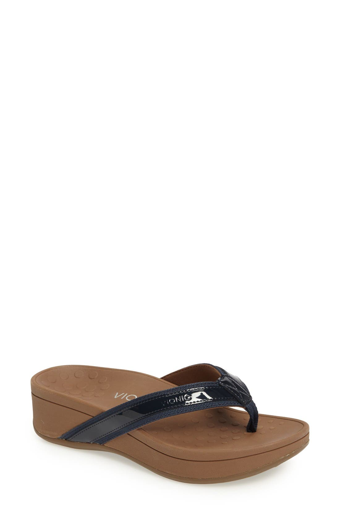 High Tide Wedge Flip Flop,                         Main,                         color, Navy Leather
